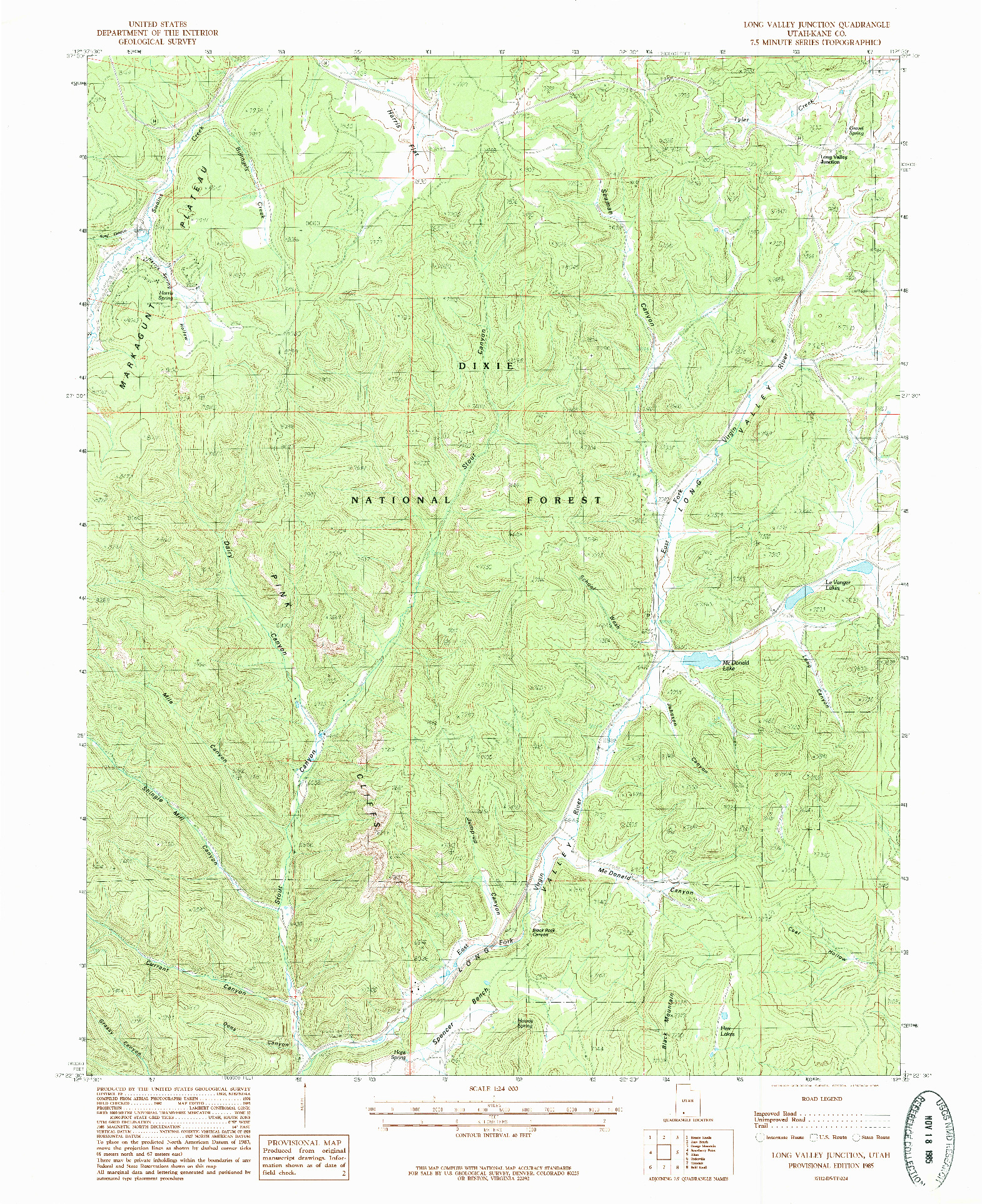 USGS 1:24000-SCALE QUADRANGLE FOR LONG VALLEY JUNCTION, UT 1985