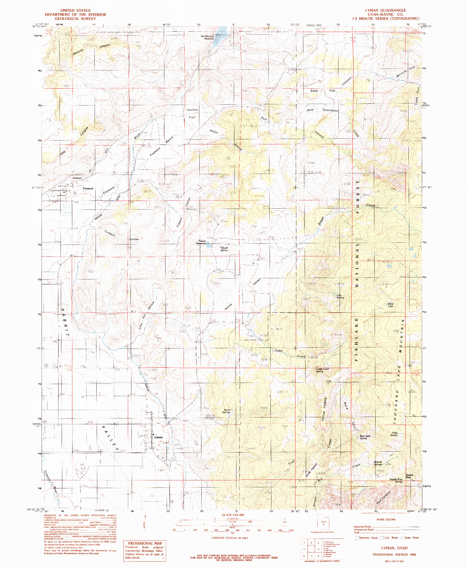USGS 1:24000-SCALE QUADRANGLE FOR LYMAN, UT 1985