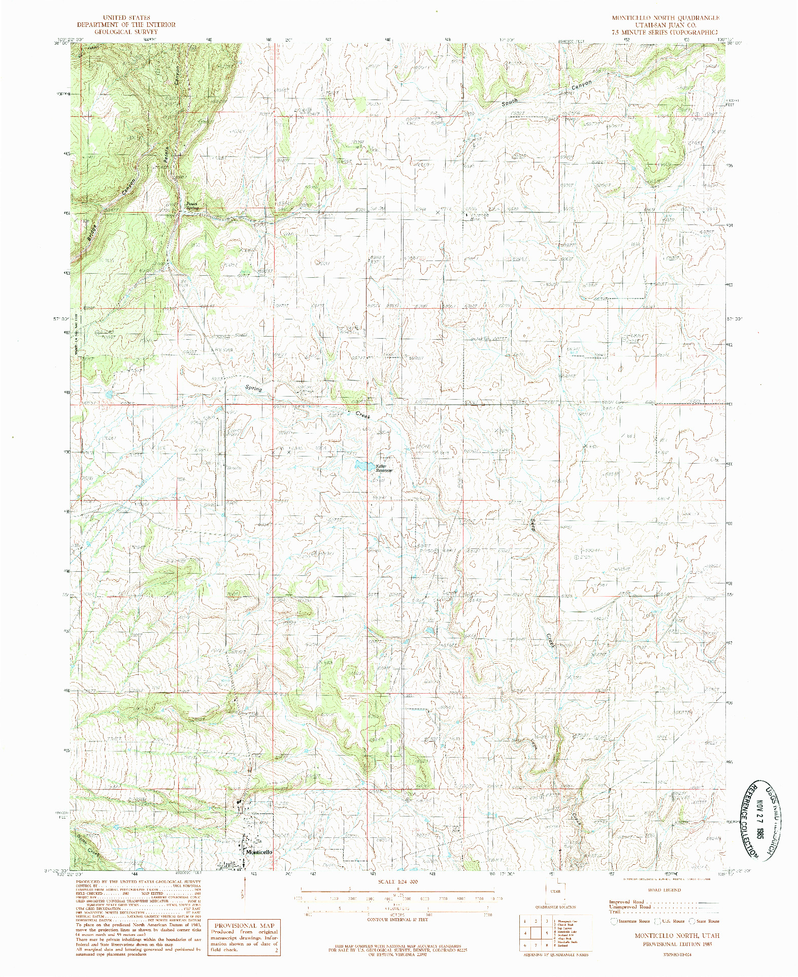 USGS 1:24000-SCALE QUADRANGLE FOR MONTICELLO NORTH, UT 1985