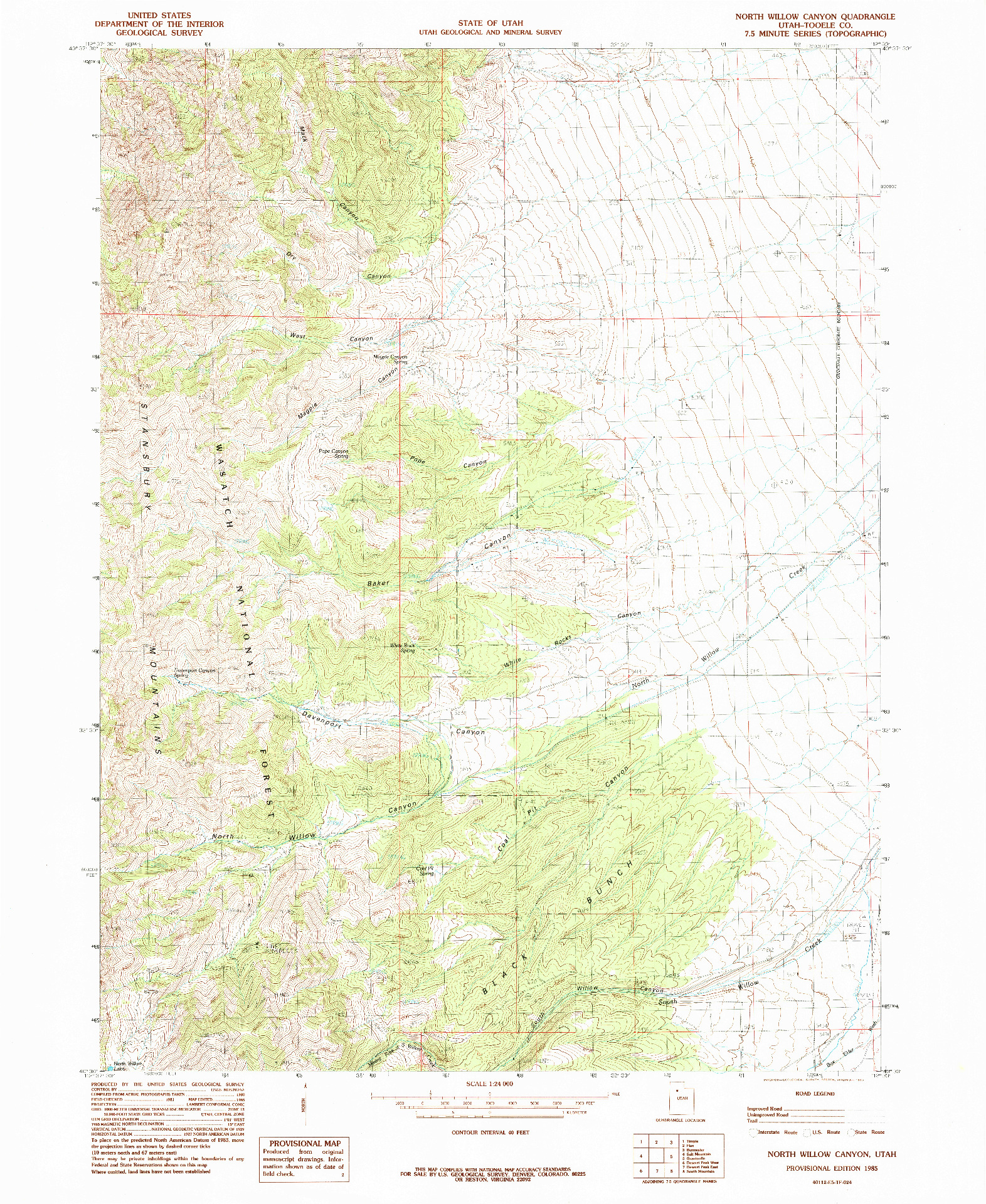 USGS 1:24000-SCALE QUADRANGLE FOR NORTH WILLOW CANYON, UT 1985
