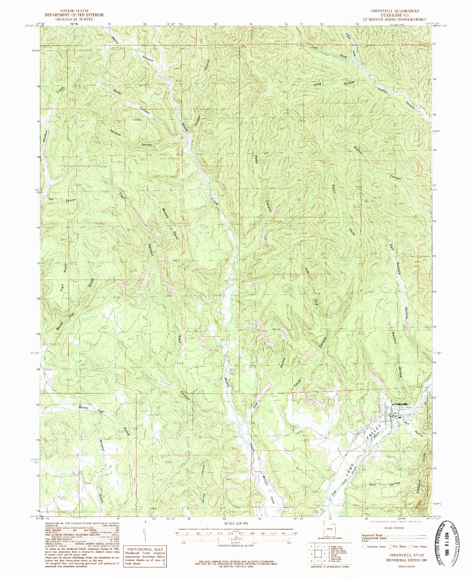 USGS 1:24000-SCALE QUADRANGLE FOR ORDERVILLE, UT 1985