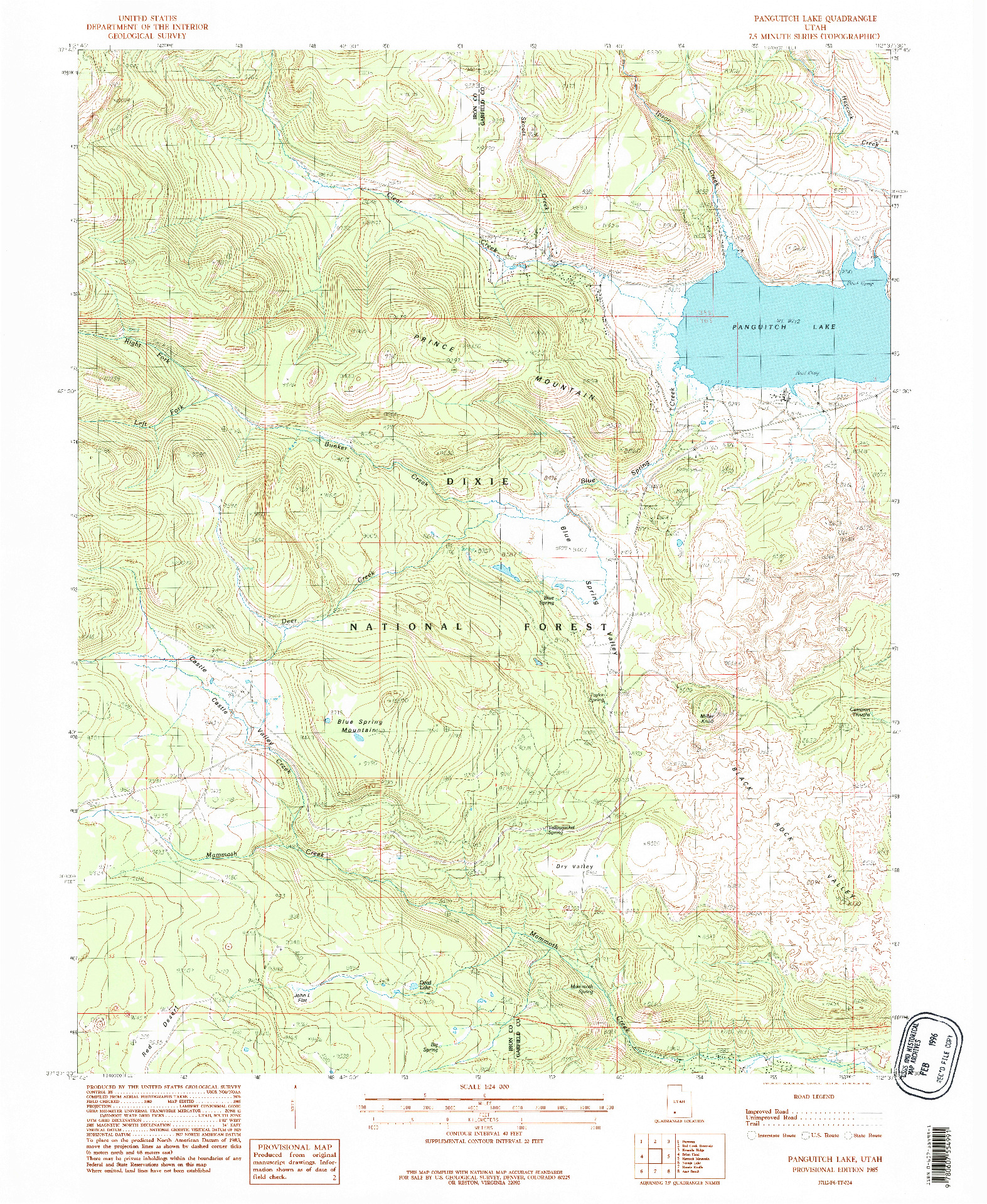 USGS 1:24000-SCALE QUADRANGLE FOR PANGUITCH LAKE, UT 1985