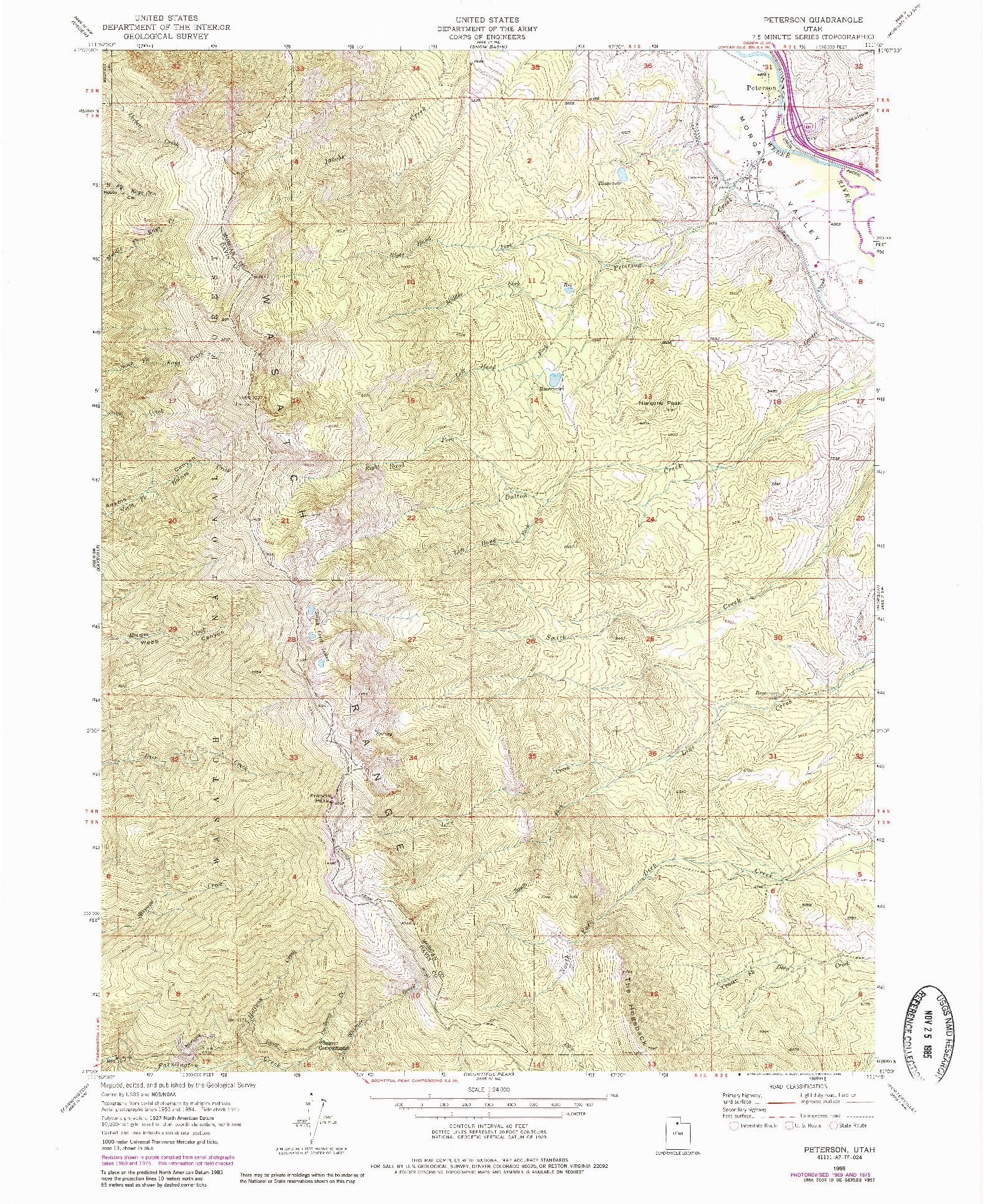 USGS 1:24000-SCALE QUADRANGLE FOR PETERSON, UT 1955