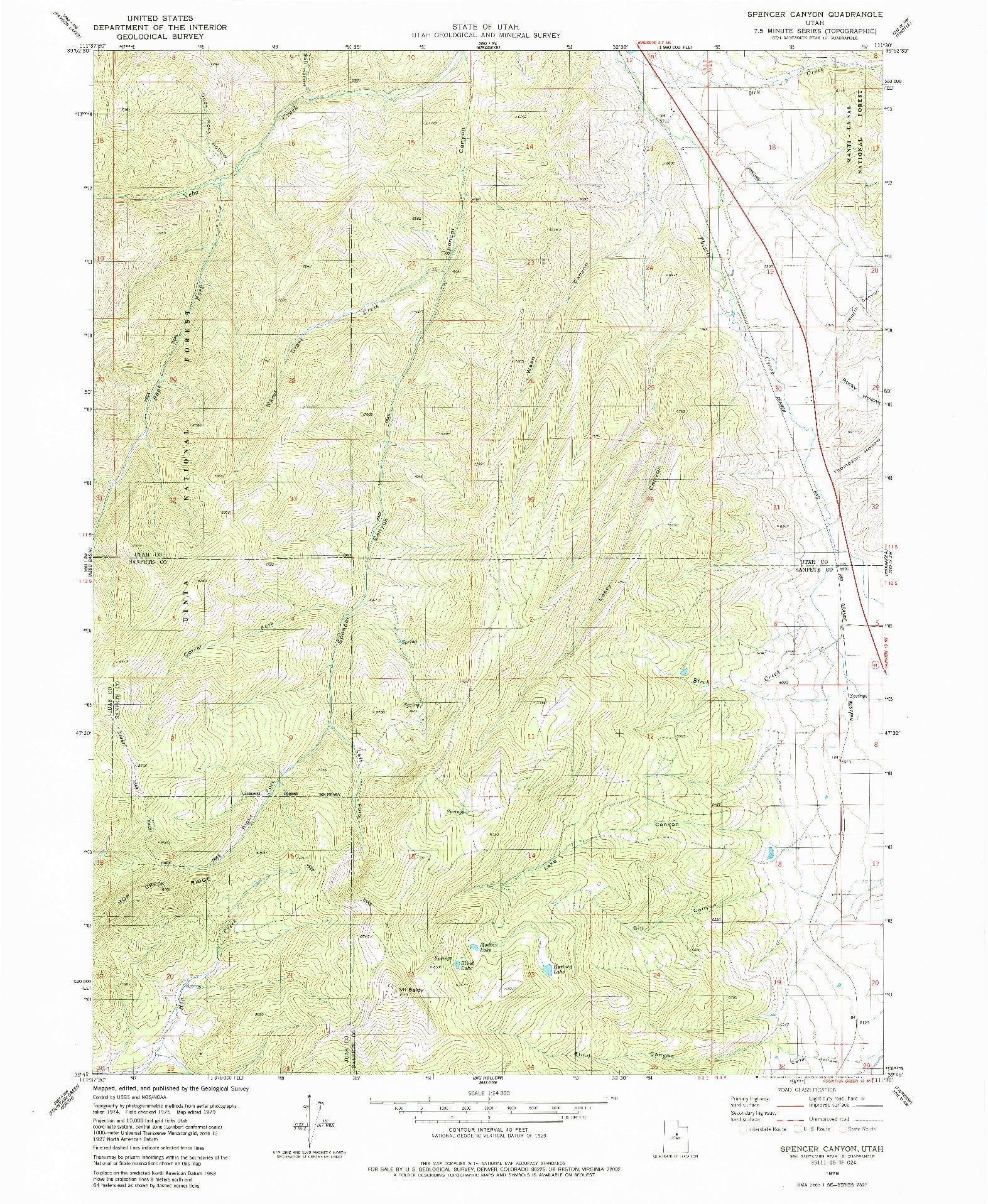 USGS 1:24000-SCALE QUADRANGLE FOR SPENCER CANYON, UT 1979
