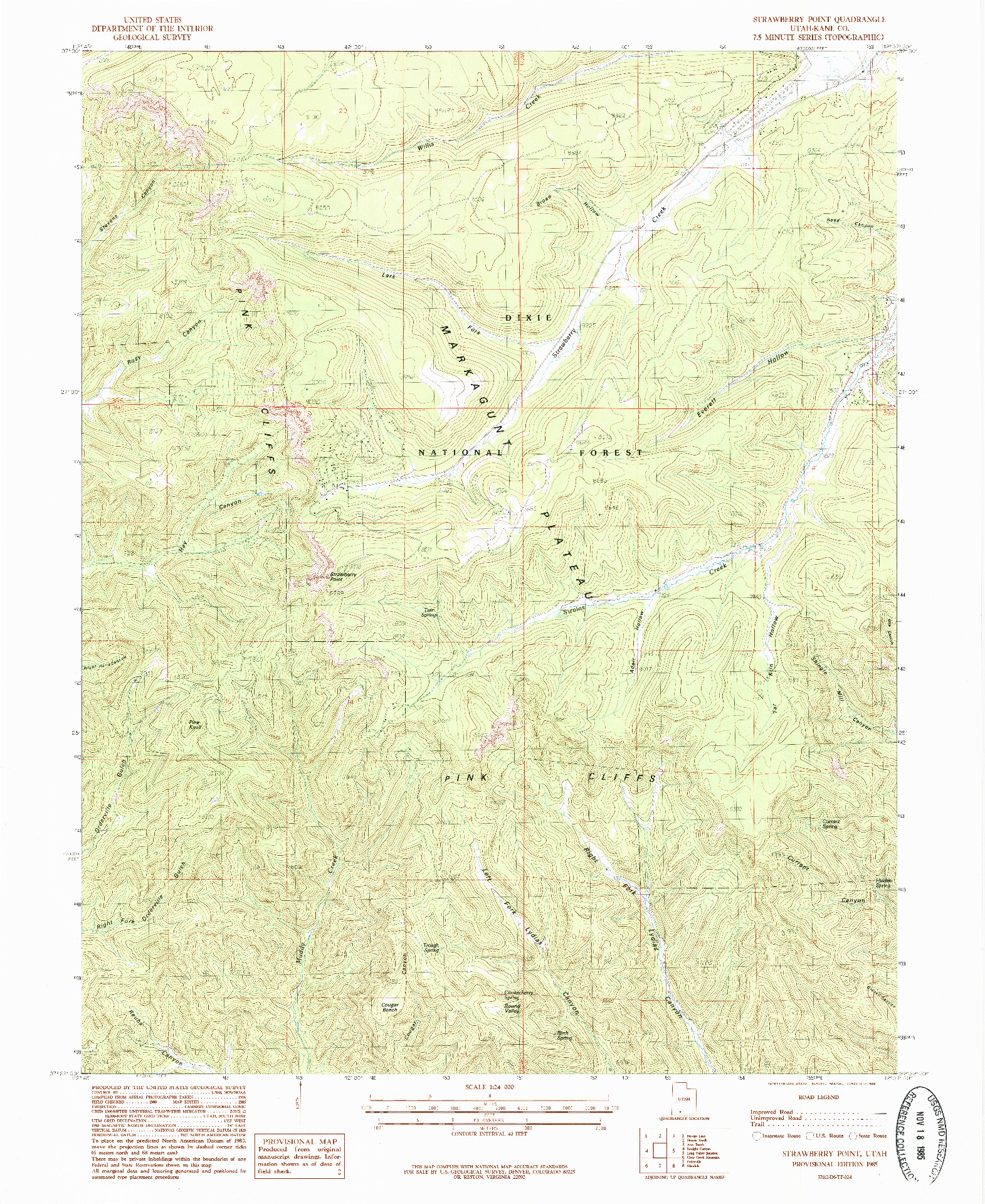 USGS 1:24000-SCALE QUADRANGLE FOR STRAWBERRY POINT, UT 1985