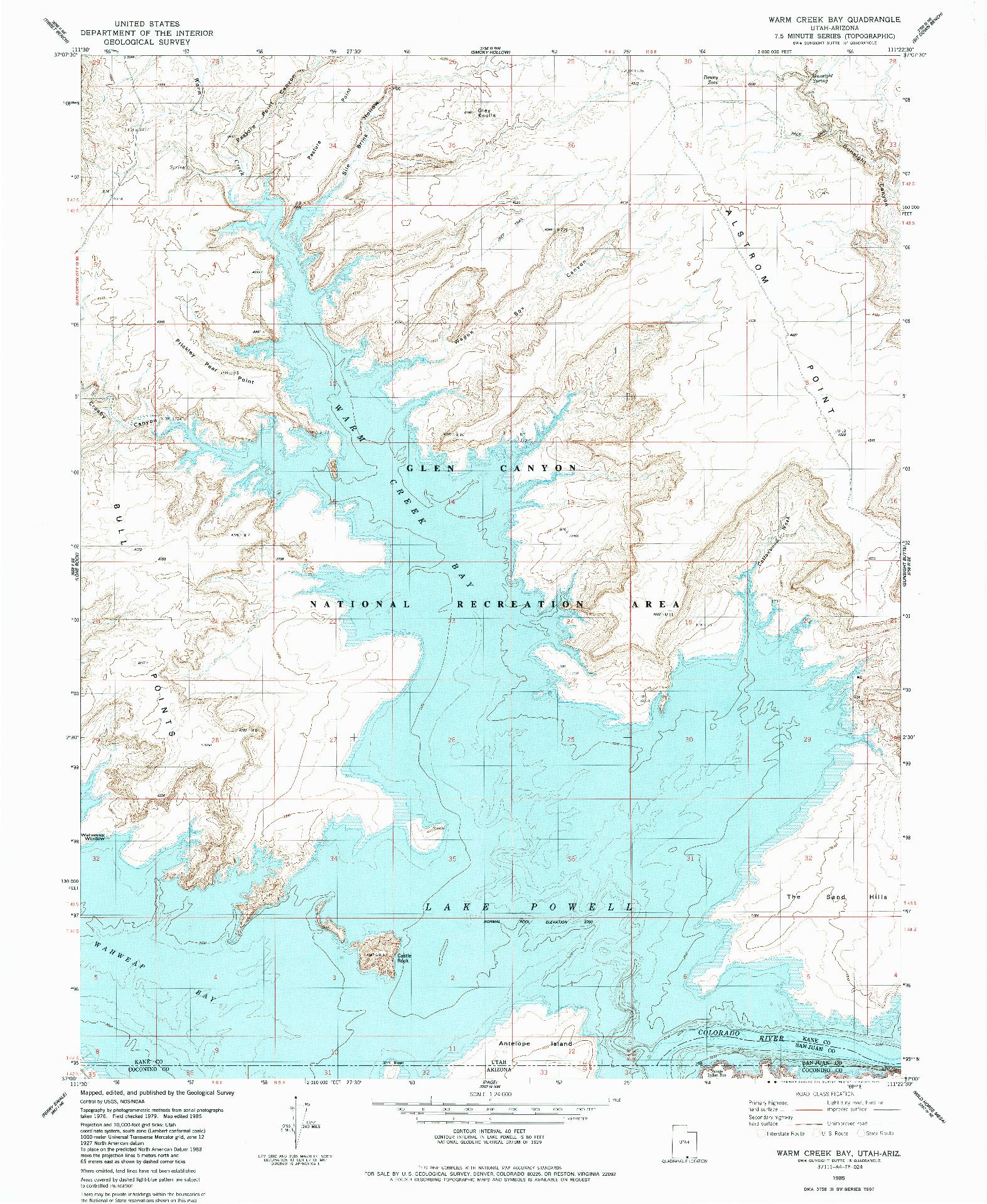 USGS 1:24000-SCALE QUADRANGLE FOR WARM CREEK BAY, UT 1985