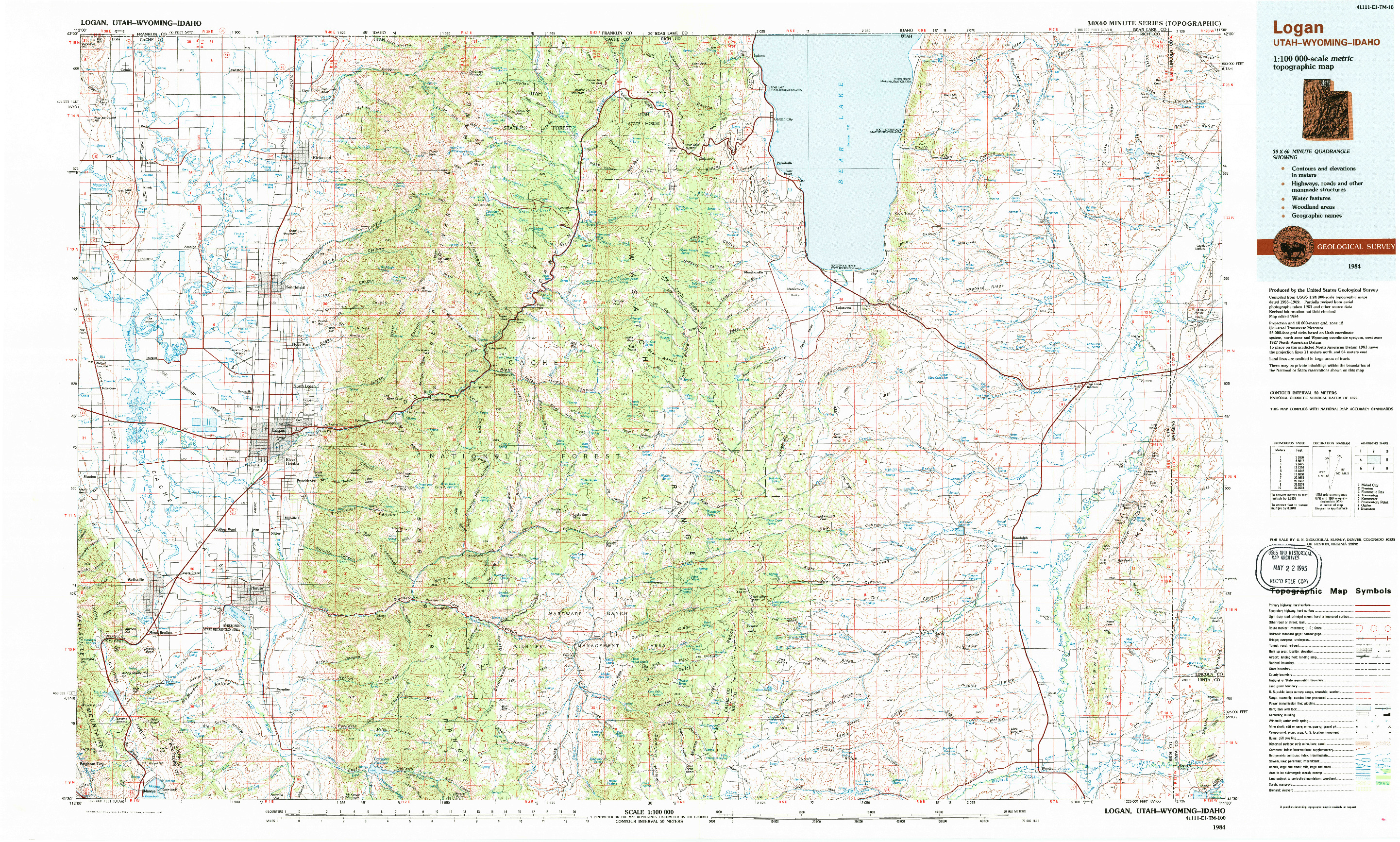 USGS 1:100000-SCALE QUADRANGLE FOR LOGAN, UT 1984