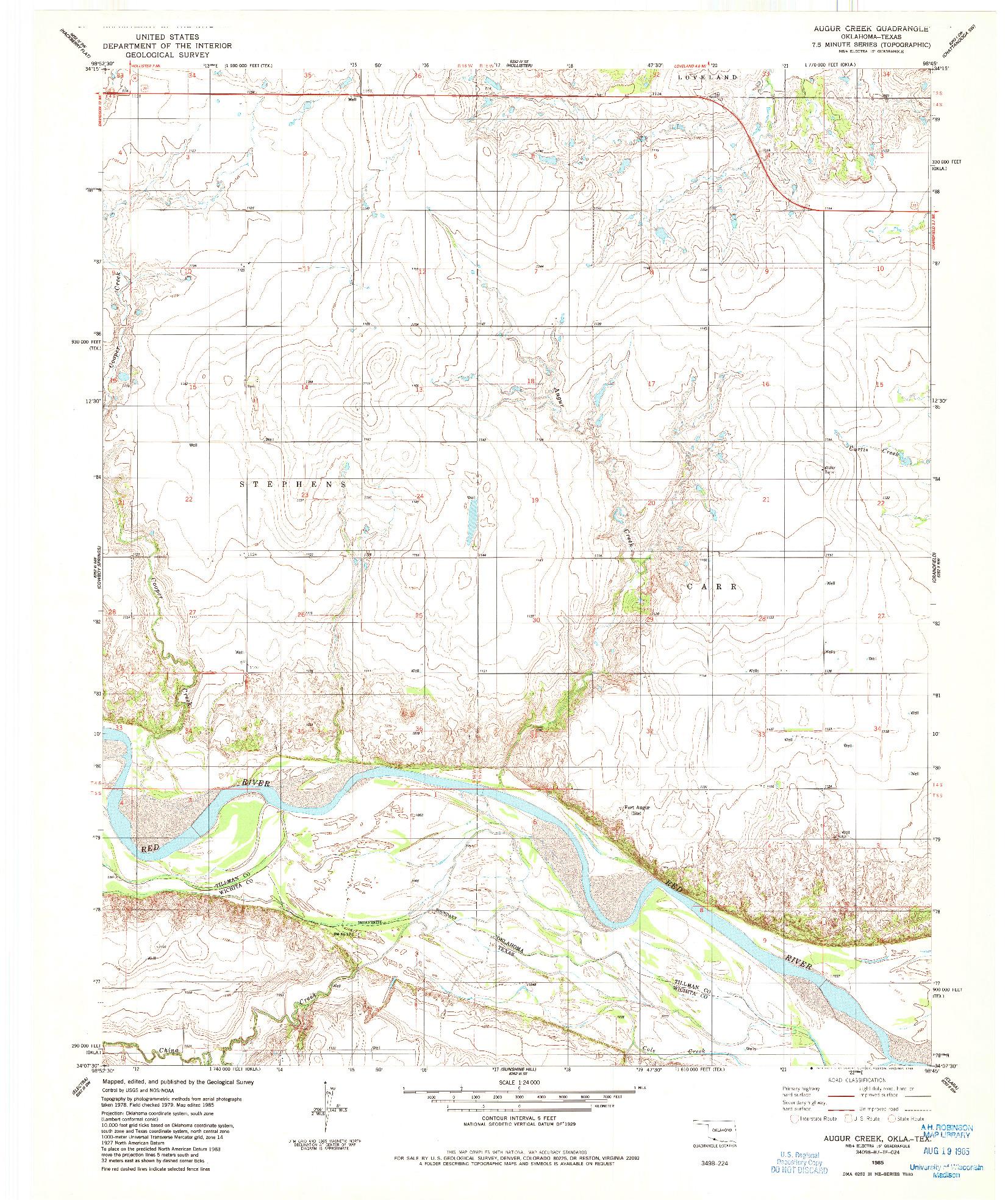 USGS 1:24000-SCALE QUADRANGLE FOR AUGUR CREEK, OK 1985