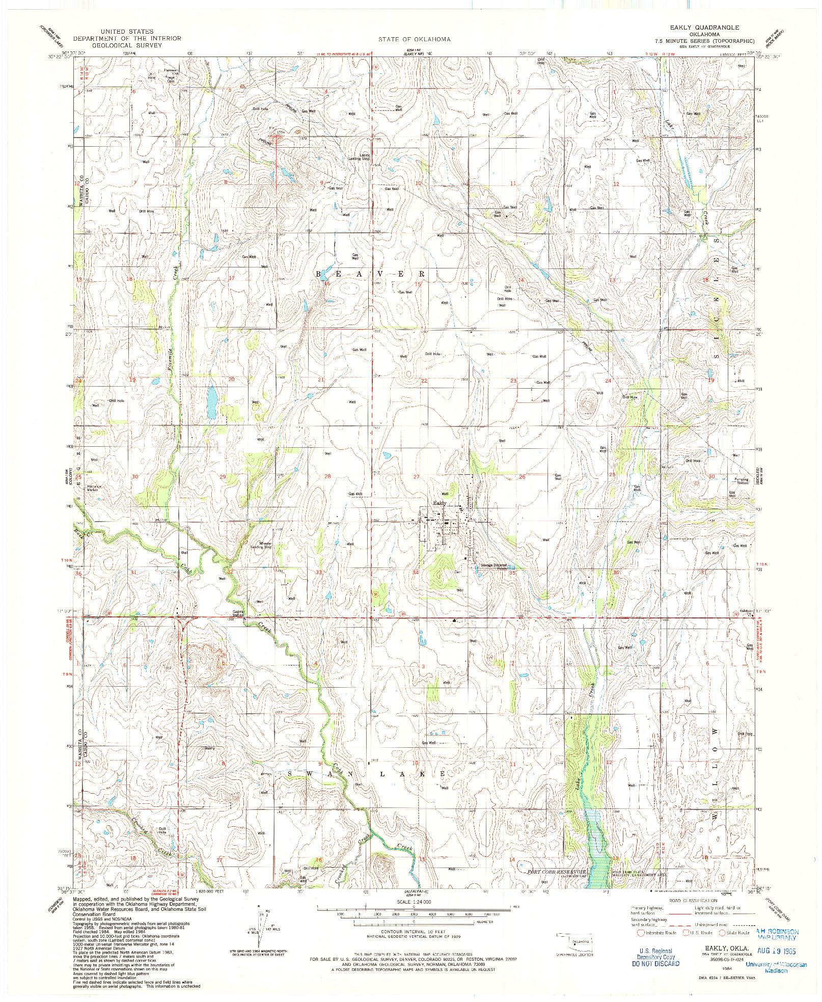 USGS 1:24000-SCALE QUADRANGLE FOR EAKLY, OK 1984