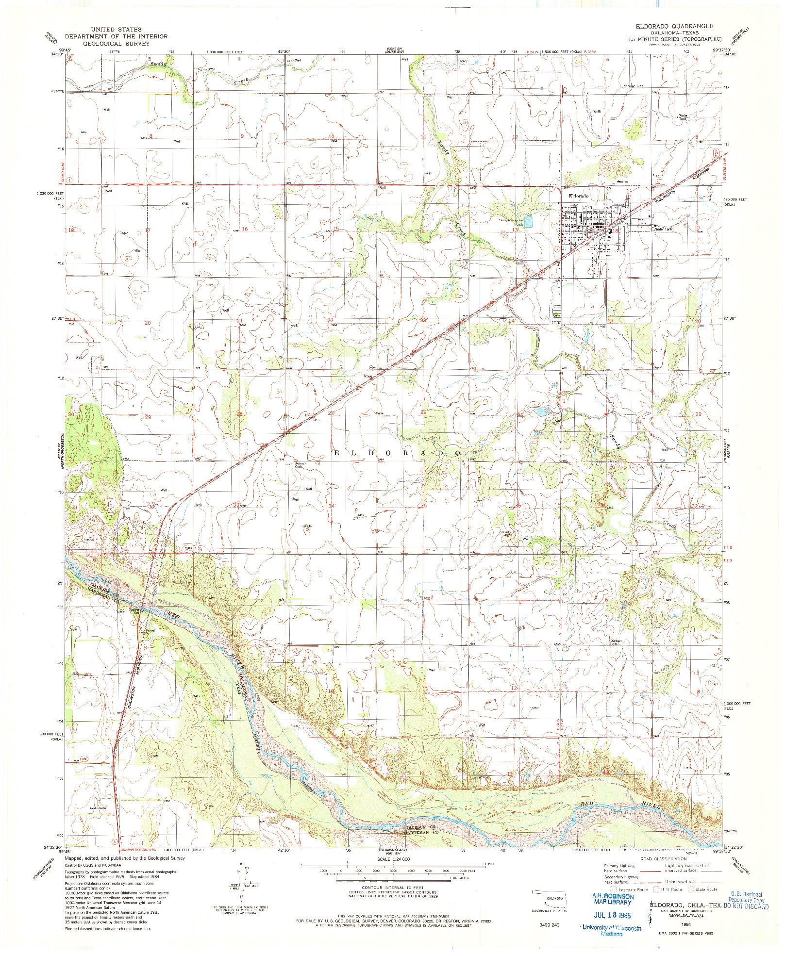 USGS 1:24000-SCALE QUADRANGLE FOR ELDORADO, OK 1984