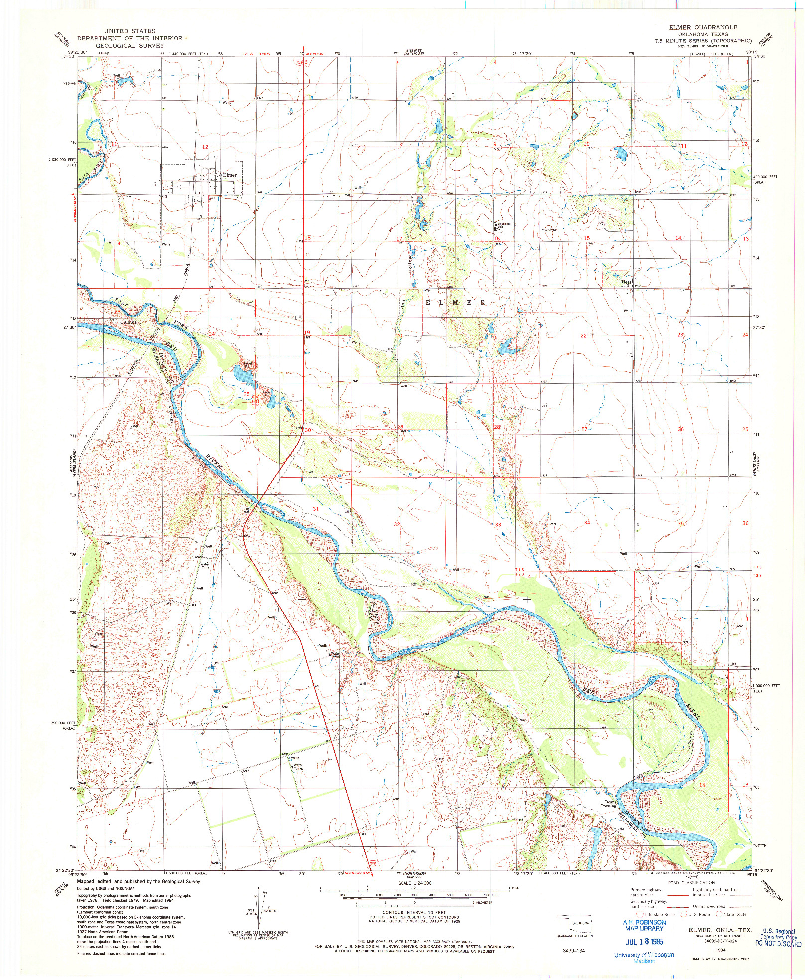 USGS 1:24000-SCALE QUADRANGLE FOR ELMER, OK 1984