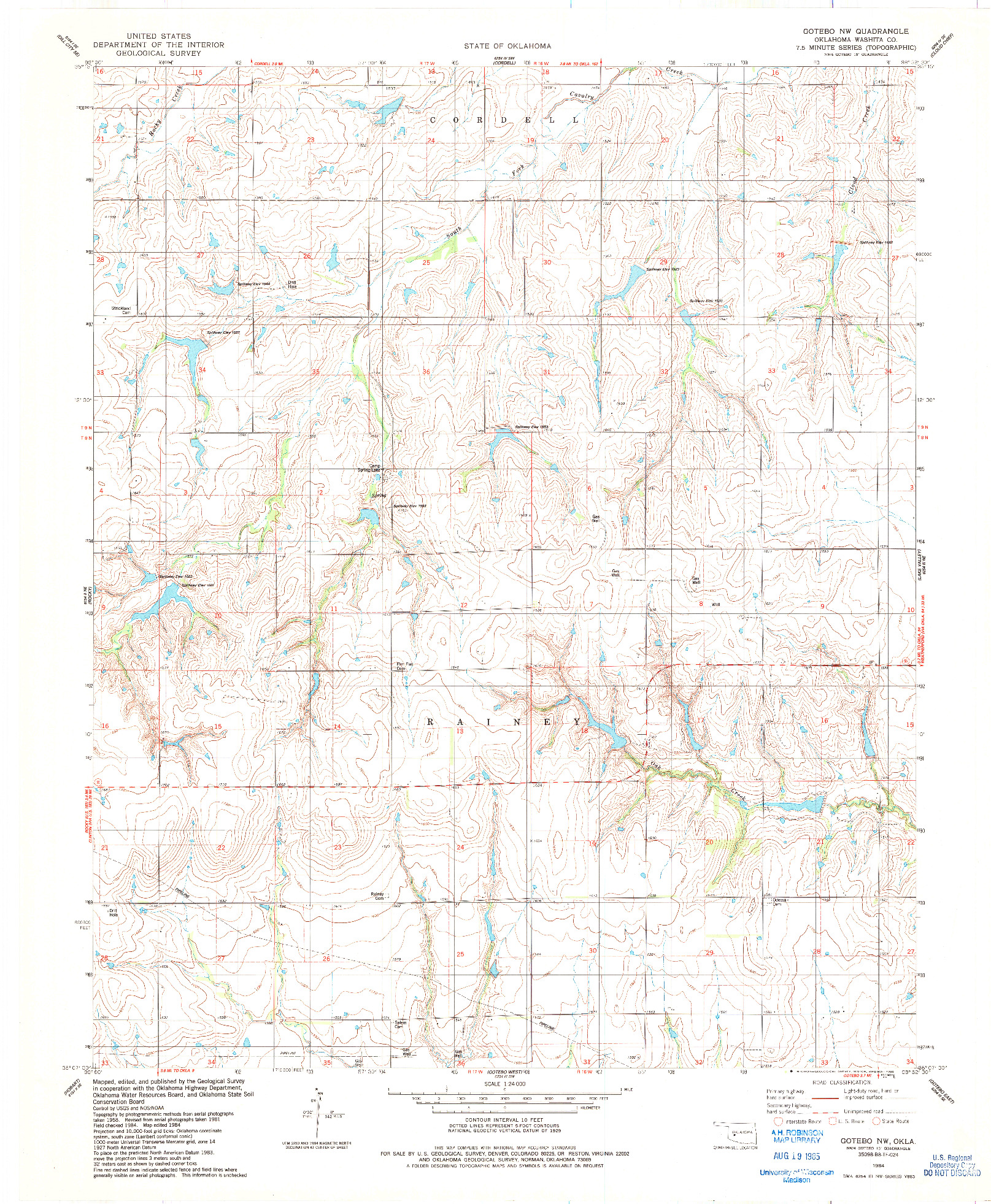 USGS 1:24000-SCALE QUADRANGLE FOR GOTEBO NW, OK 1984