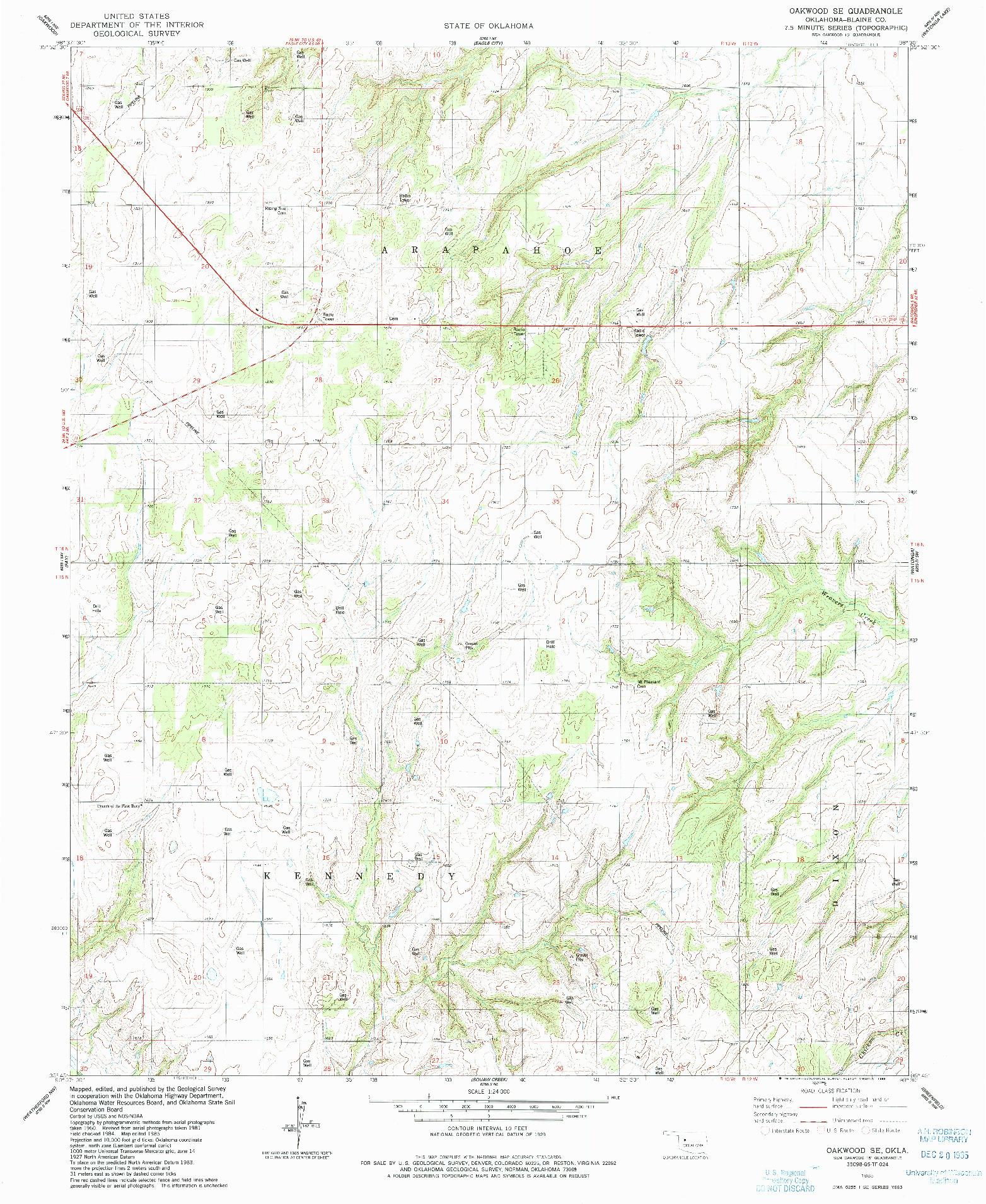 USGS 1:24000-SCALE QUADRANGLE FOR OAKWOOD SE, OK 1985