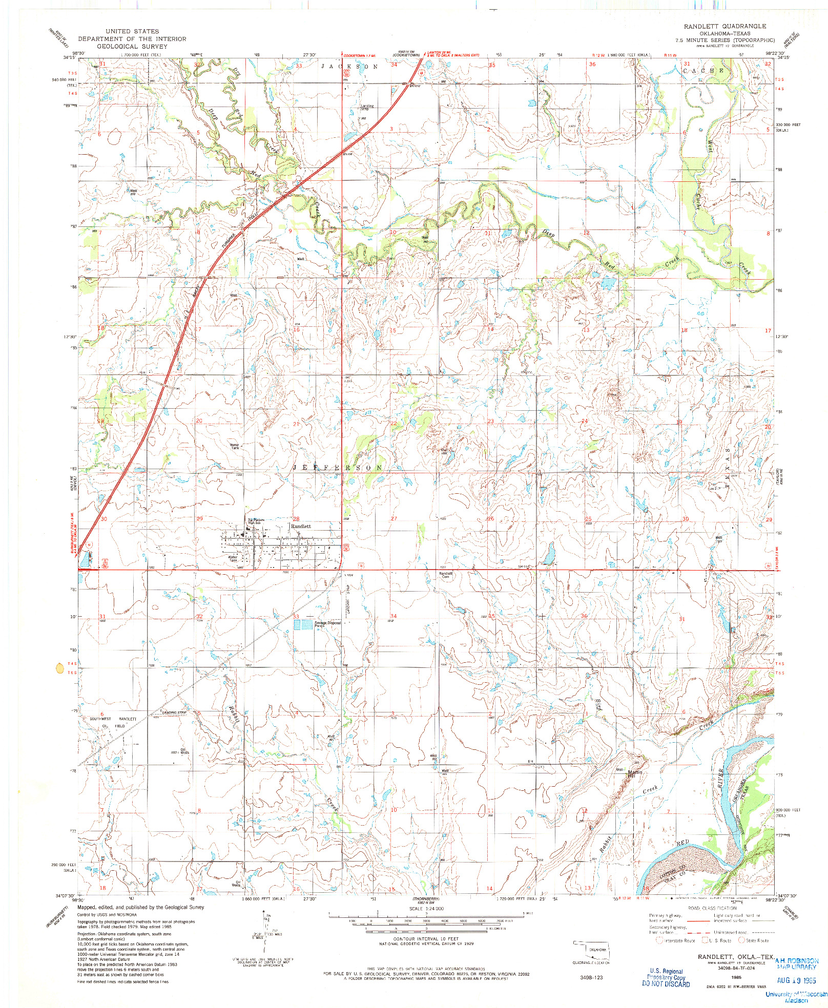 USGS 1:24000-SCALE QUADRANGLE FOR RANDLETT, OK 1985