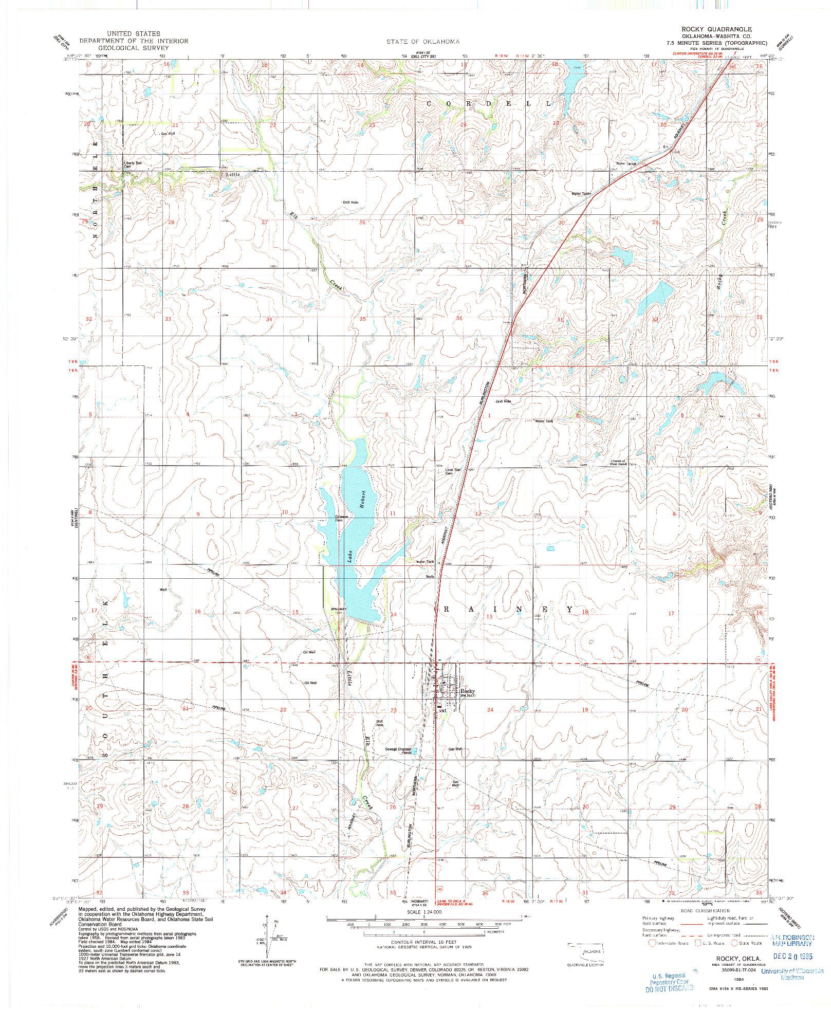 USGS 1:24000-SCALE QUADRANGLE FOR ROCKY, OK 1984