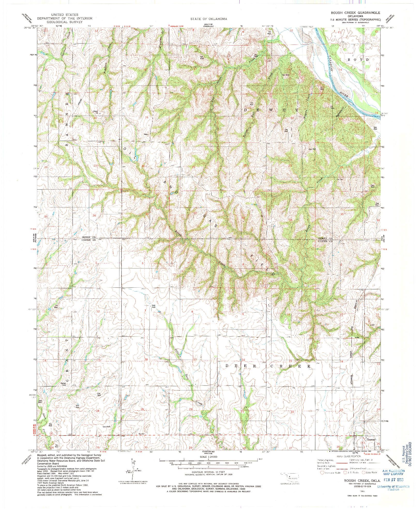 USGS 1:24000-SCALE QUADRANGLE FOR ROUGH CREEK, OK 1985