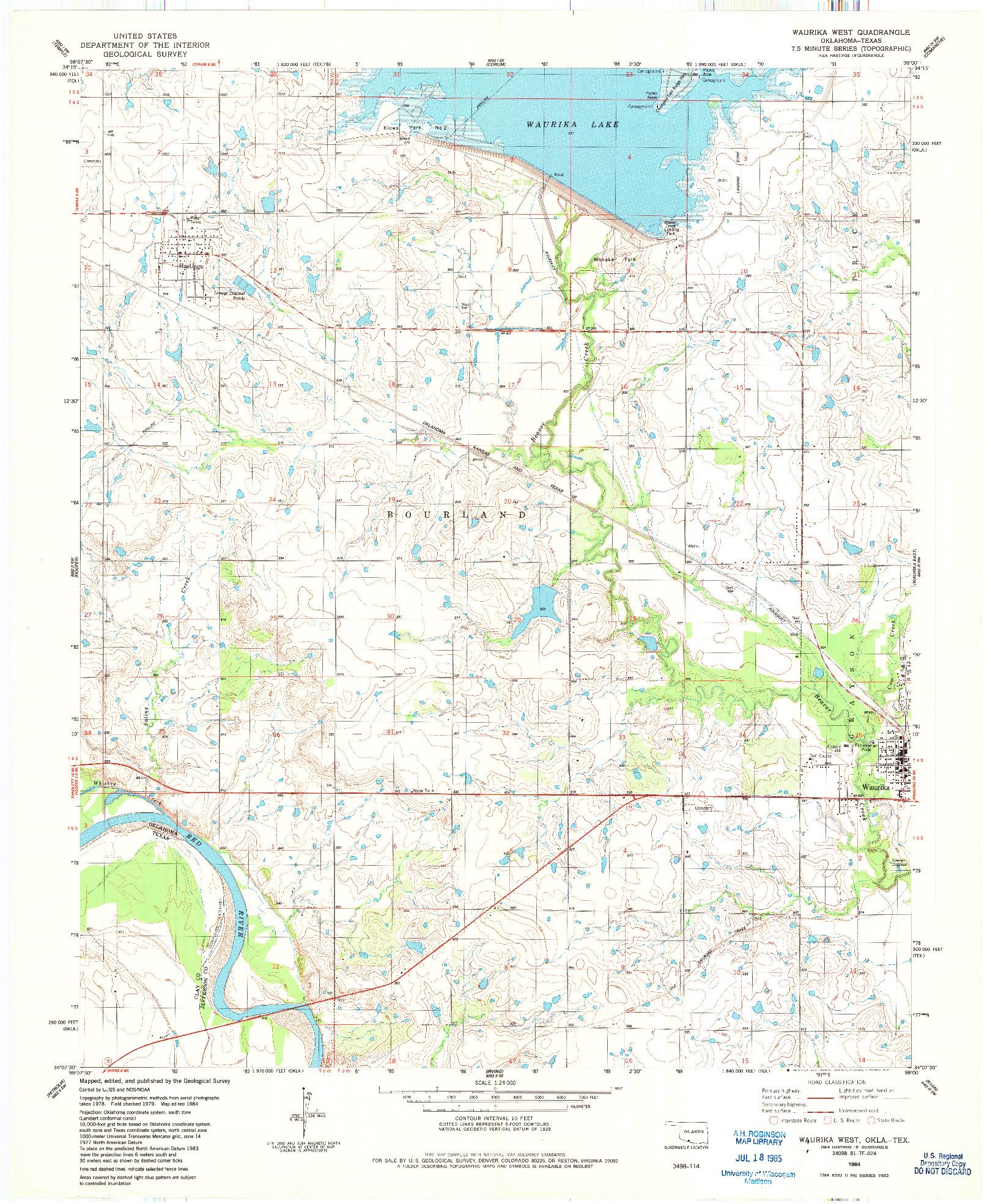 USGS 1:24000-SCALE QUADRANGLE FOR WAURIKA WEST, OK 1984