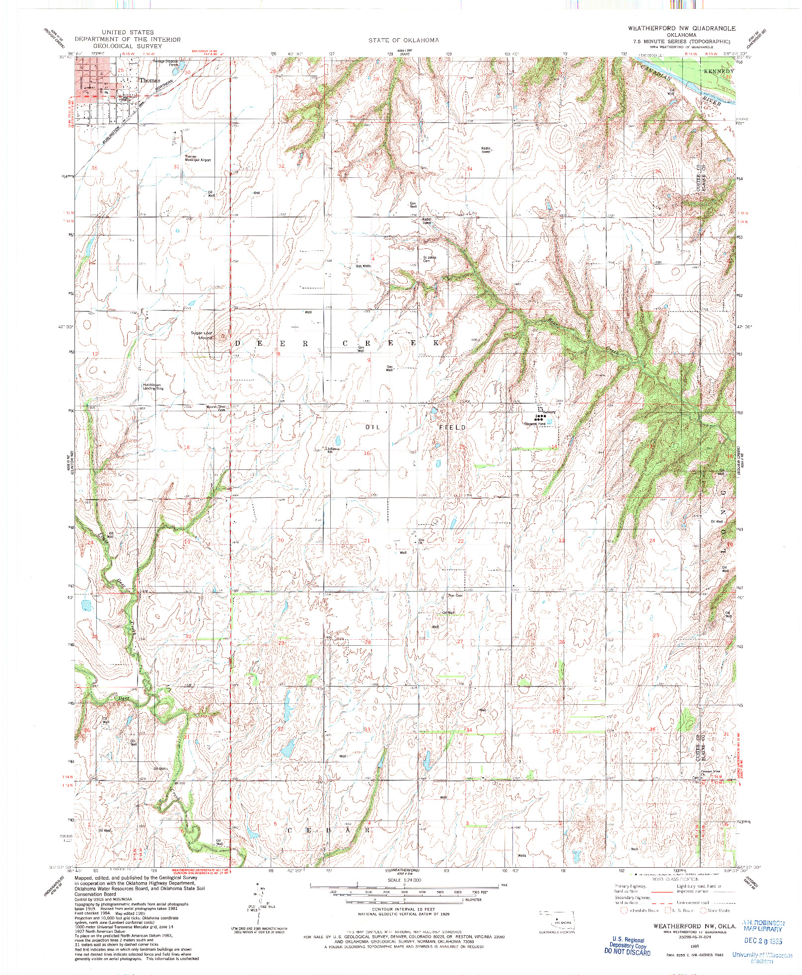 USGS 1:24000-SCALE QUADRANGLE FOR WEATHERFORD NW, OK 1985