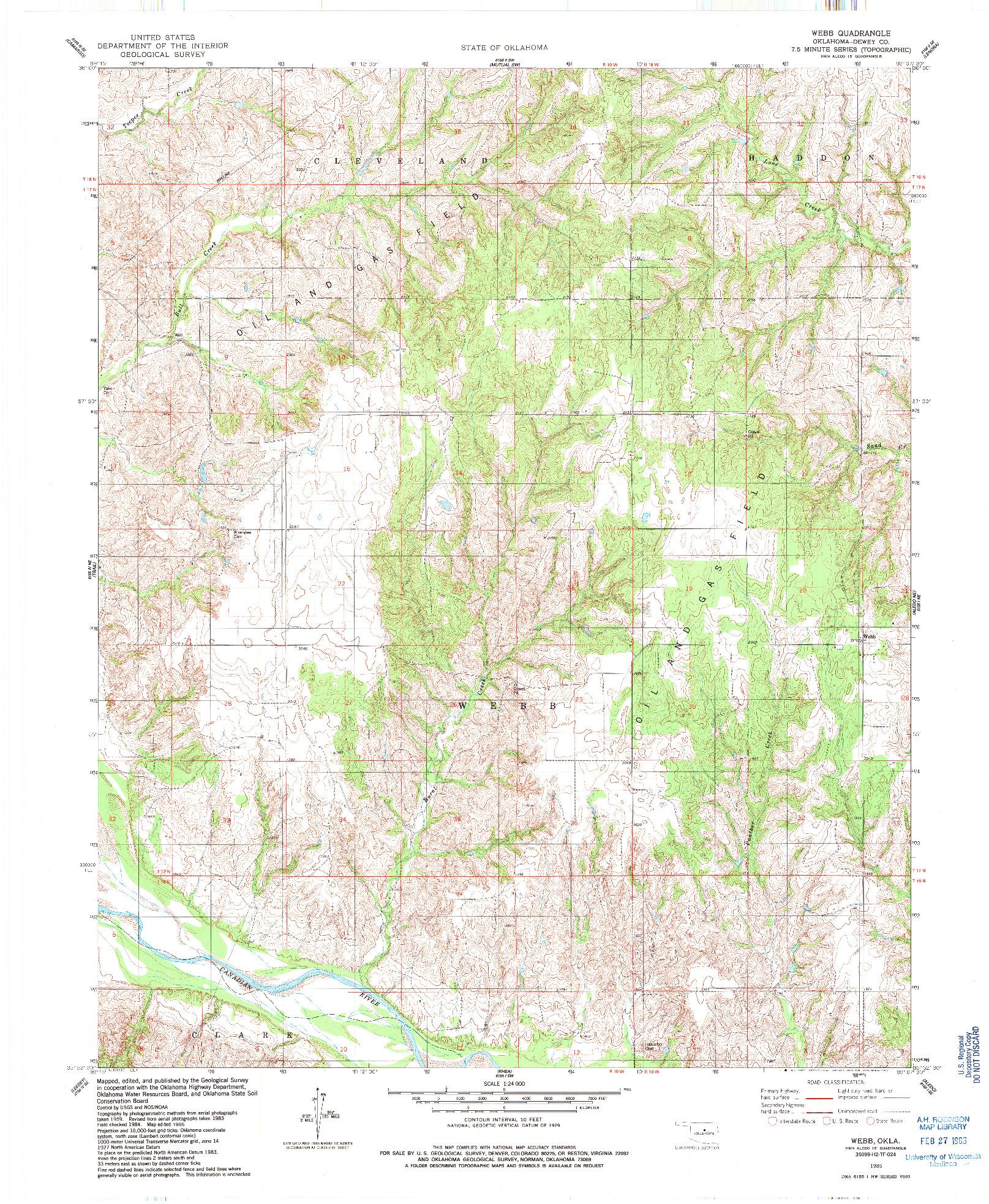 USGS 1:24000-SCALE QUADRANGLE FOR WEBB, OK 1985