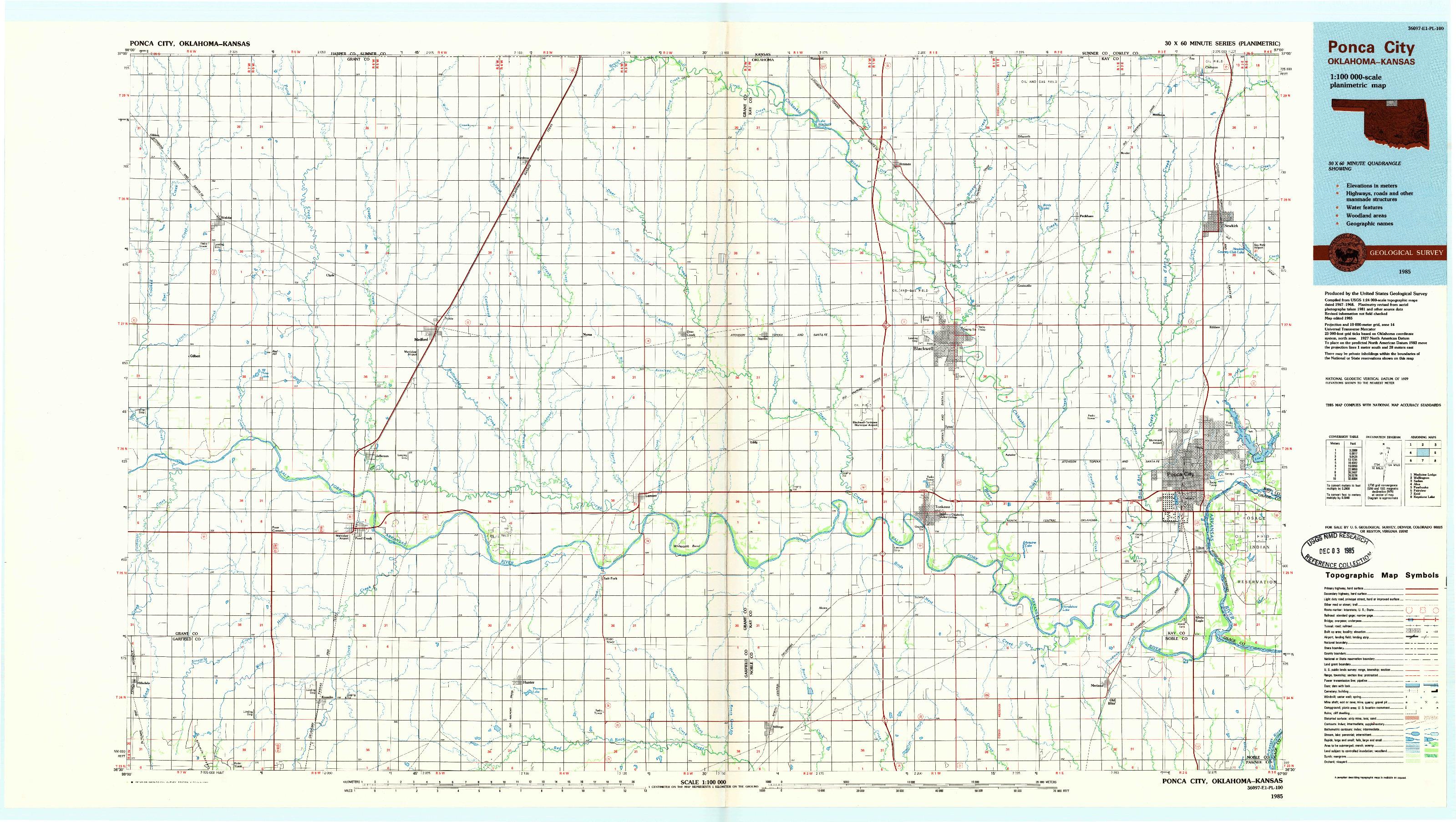 USGS 1:100000-SCALE QUADRANGLE FOR PONCA CITY, OK 1985