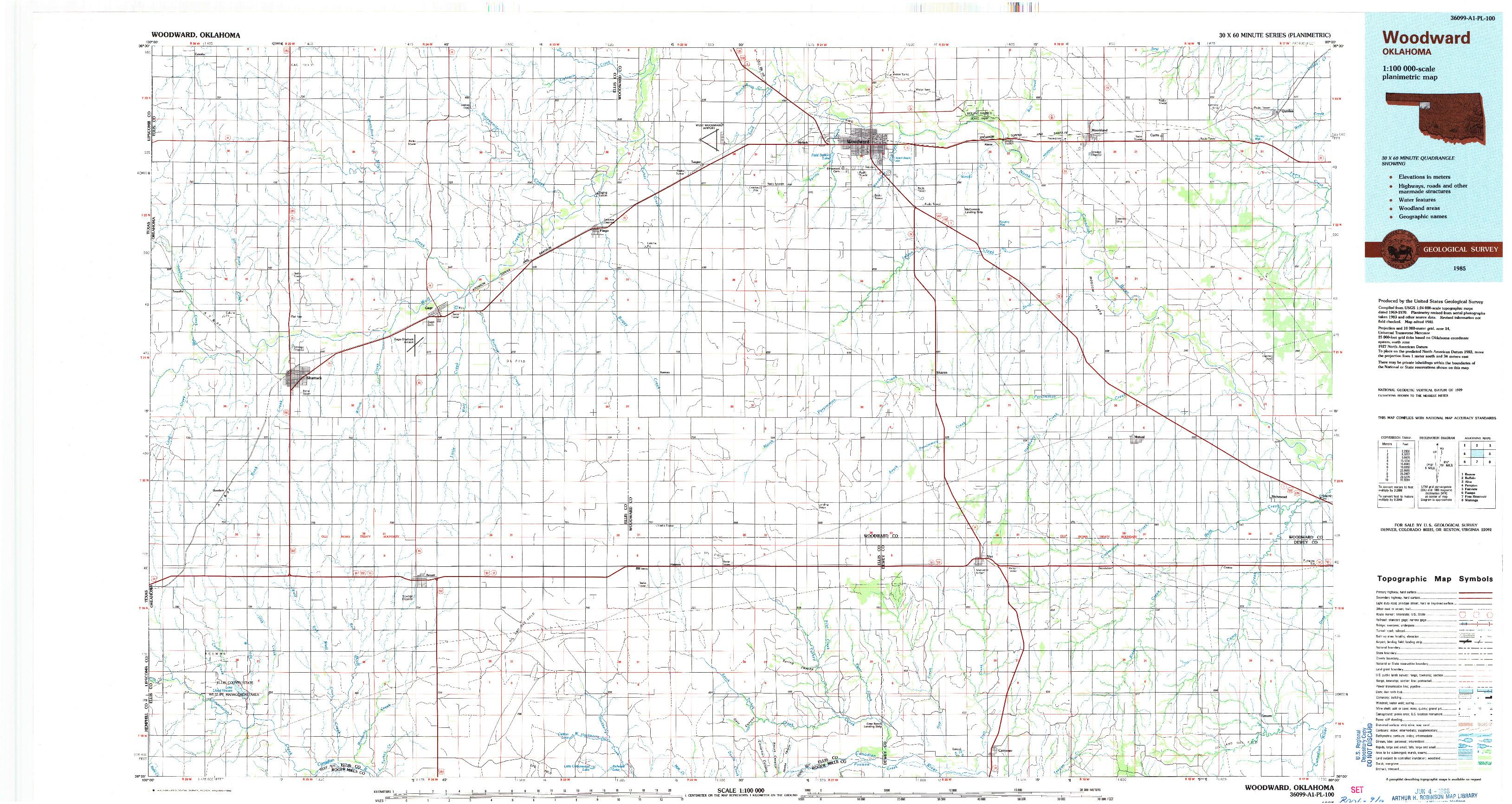 USGS 1:100000-SCALE QUADRANGLE FOR WOODWARD, OK 1985
