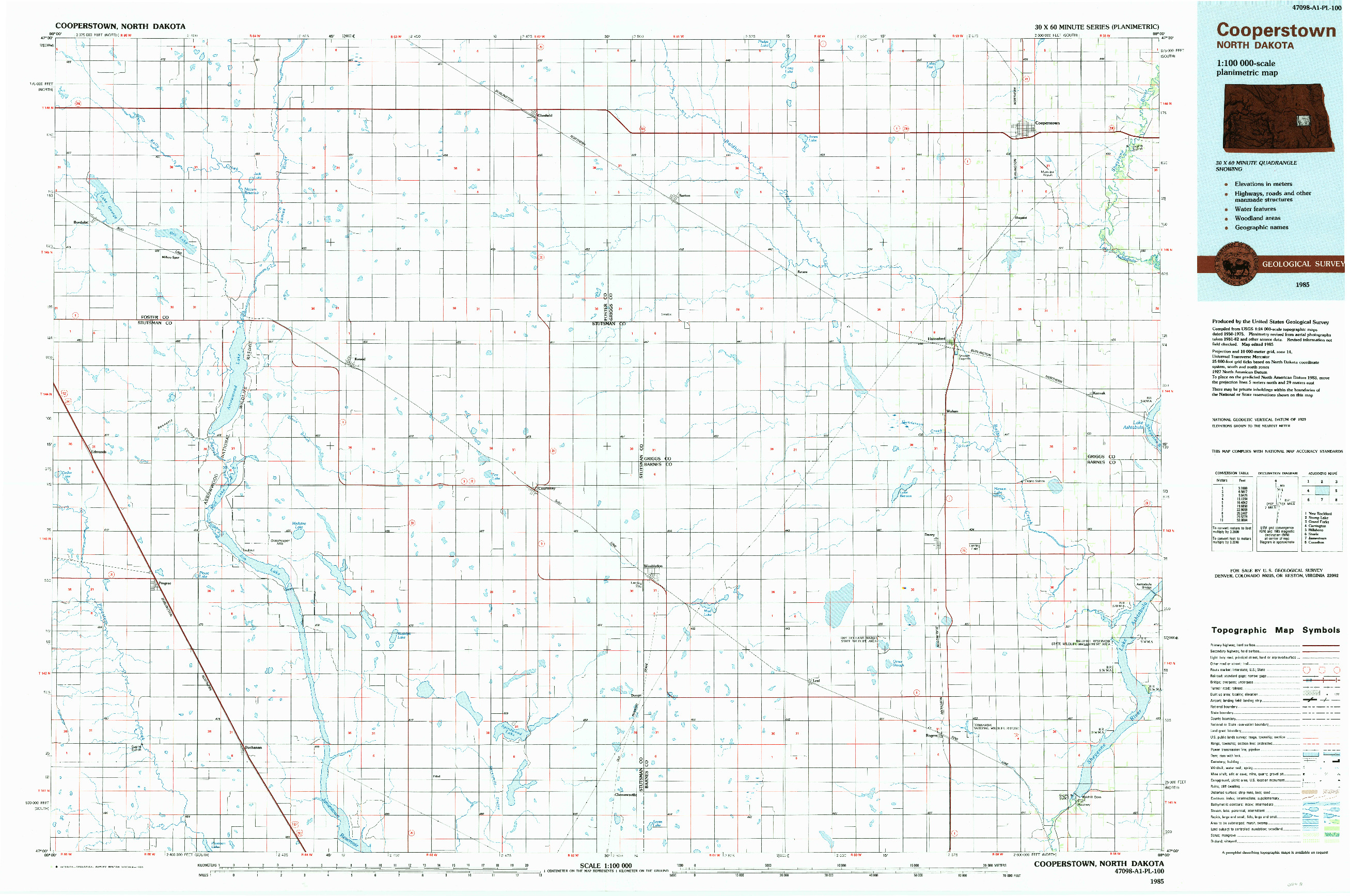 USGS 1:100000-SCALE QUADRANGLE FOR COOPERSTOWN, ND 1985