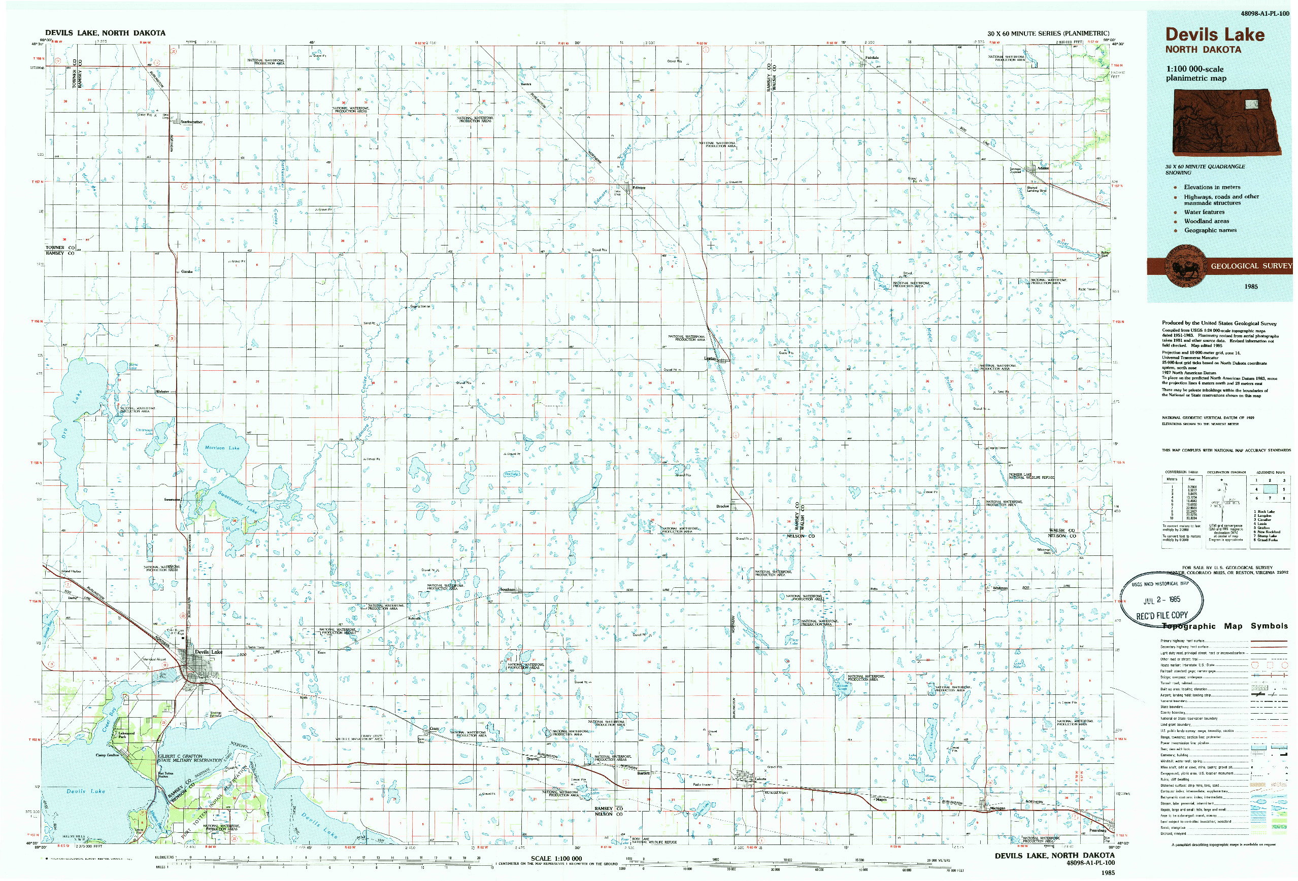 USGS 1:100000-SCALE QUADRANGLE FOR DEVILS LAKE, ND 1985