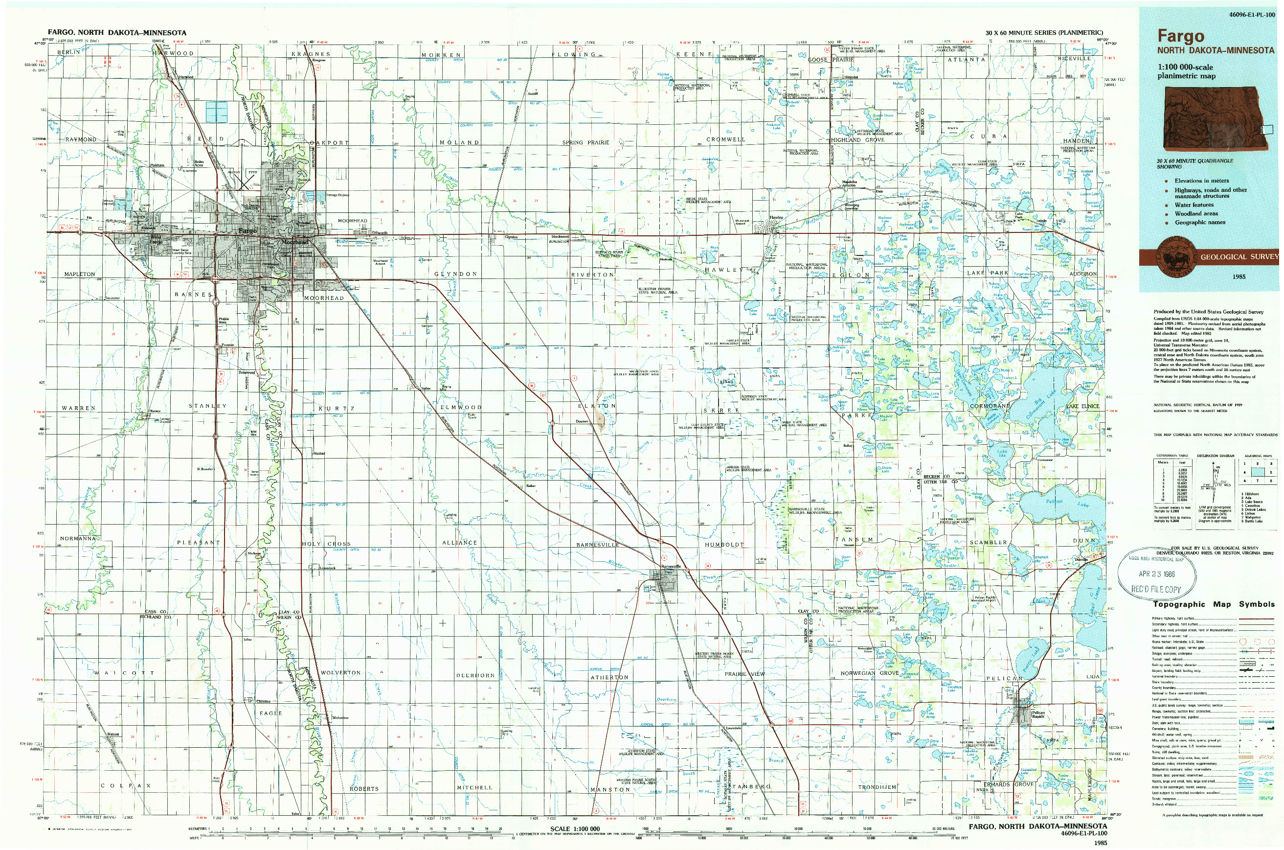 USGS 1:100000-SCALE QUADRANGLE FOR FARGO, ND 1985