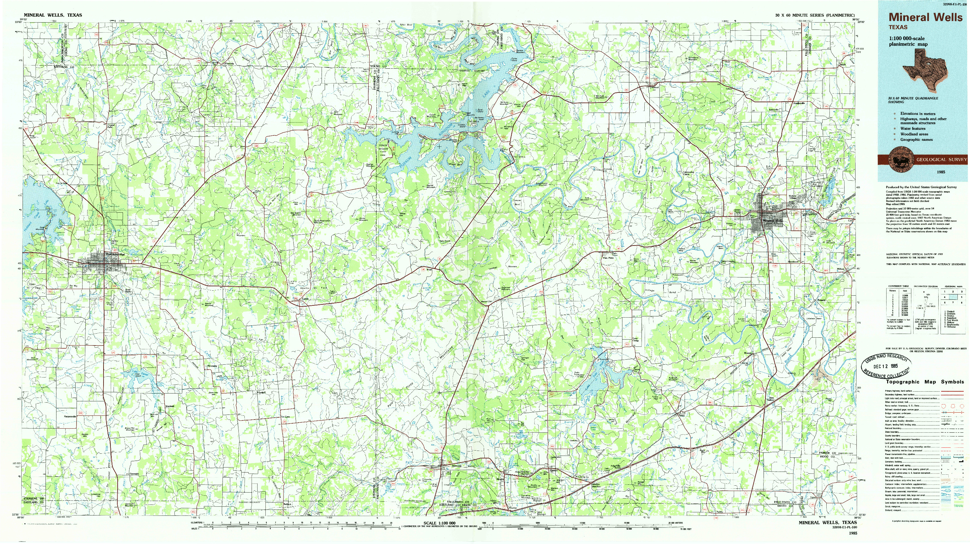 USGS 1:100000-SCALE QUADRANGLE FOR MINERAL WELLS, TX 1985