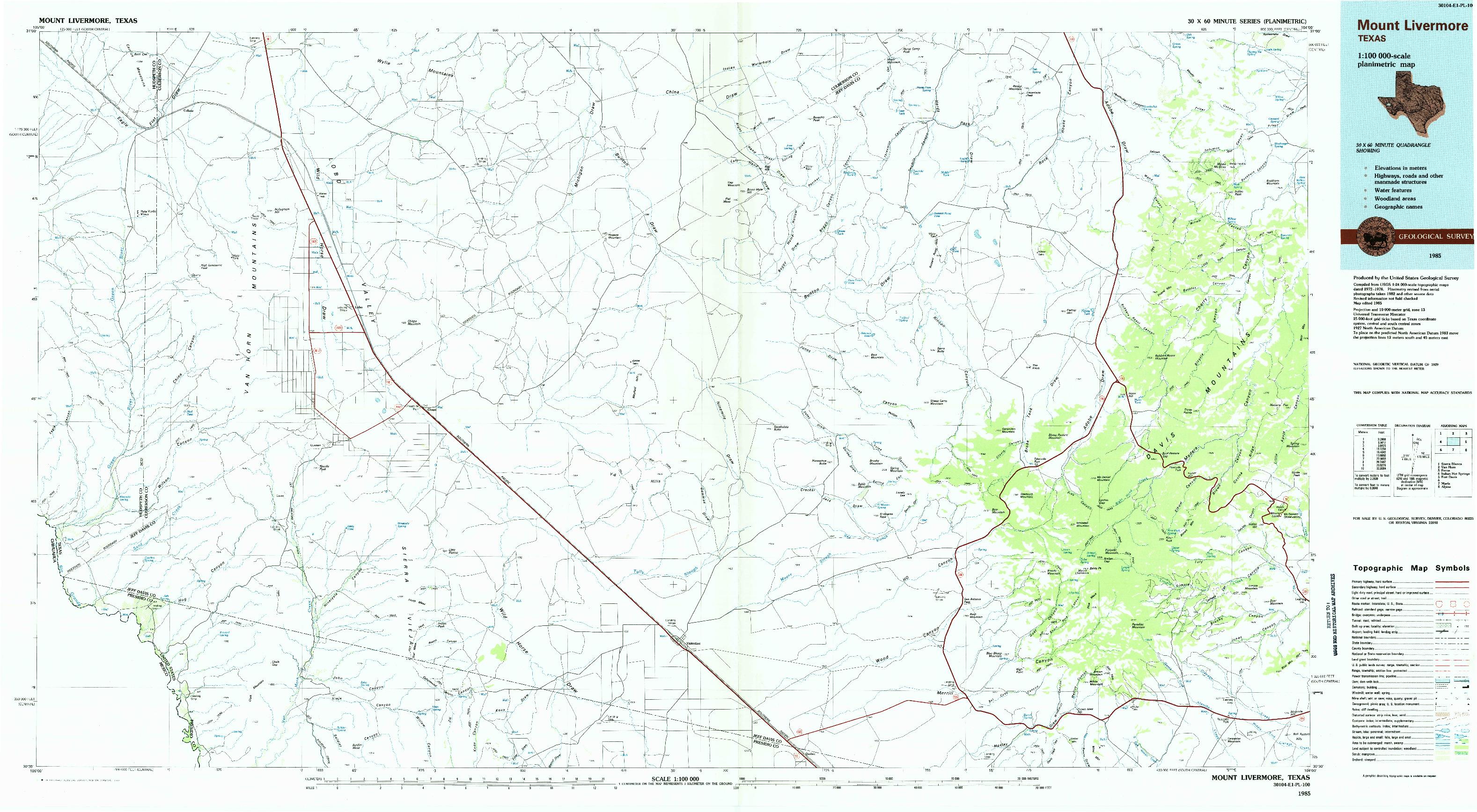USGS 1:100000-SCALE QUADRANGLE FOR MOUNT LIVERMORE, TX 1985