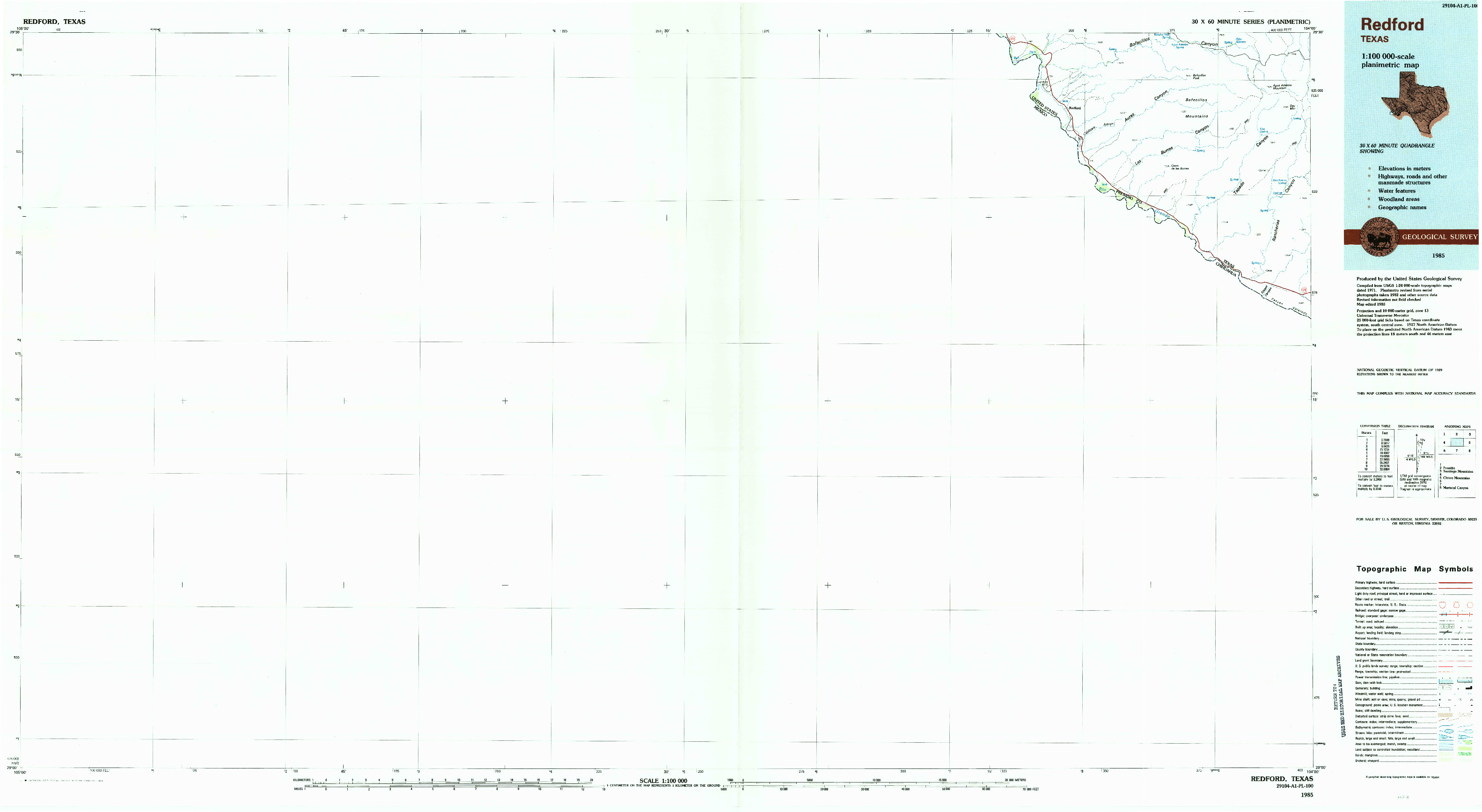 USGS 1:100000-SCALE QUADRANGLE FOR REDFORD, TX 1985