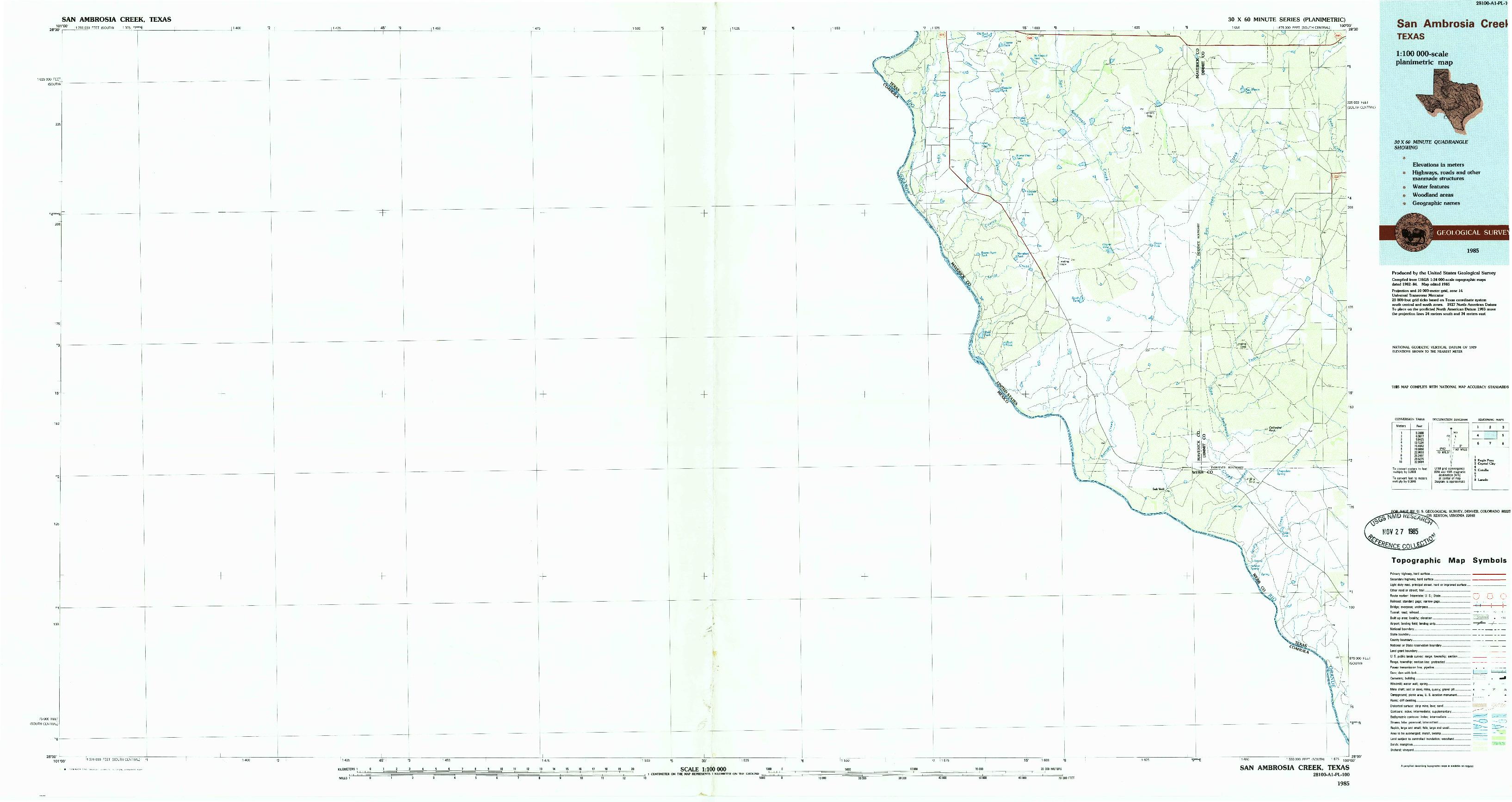 USGS 1:100000-SCALE QUADRANGLE FOR SAN AMBROSIA CREEK, TX 1985