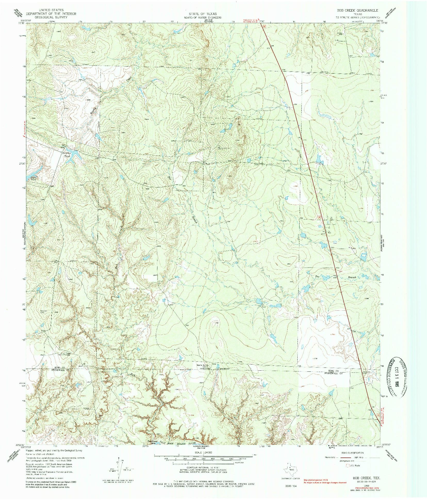 USGS 1:24000-SCALE QUADRANGLE FOR BOB CREEK, TX 1959