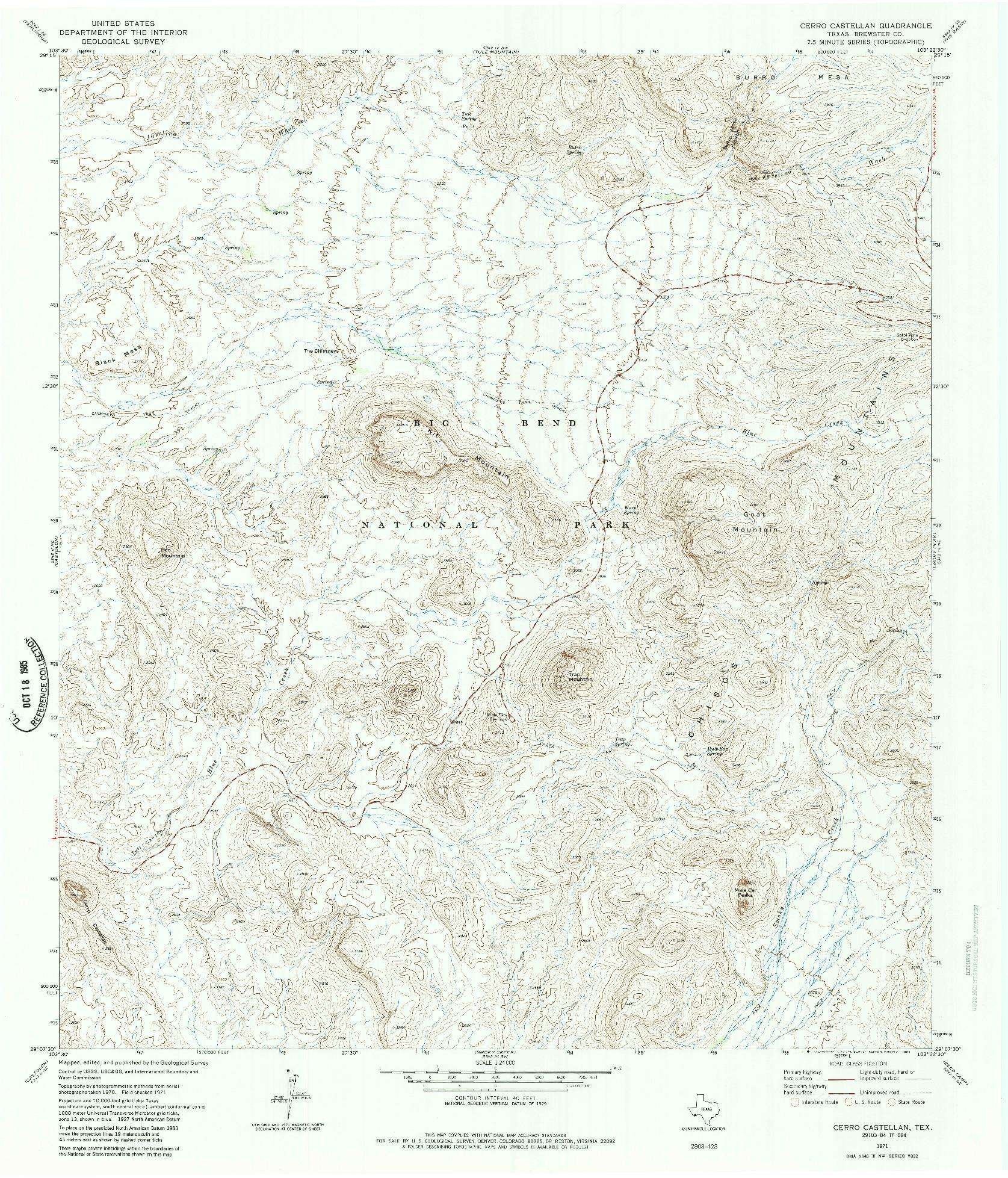 USGS 1:24000-SCALE QUADRANGLE FOR CERRO CASTELLAN, TX 1971