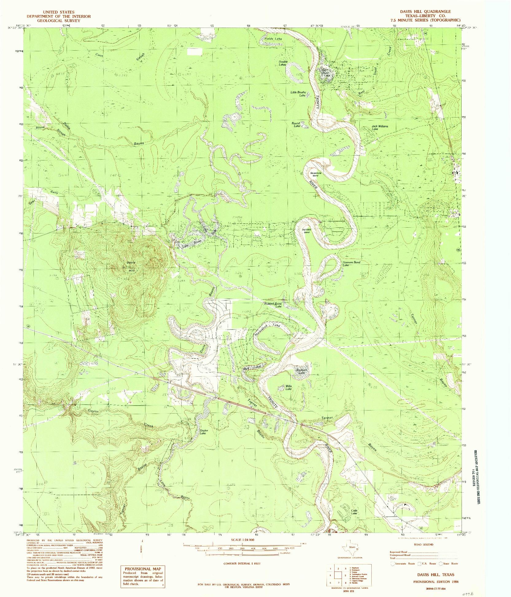 USGS 1:24000-SCALE QUADRANGLE FOR DAVIS HILL, TX 1984