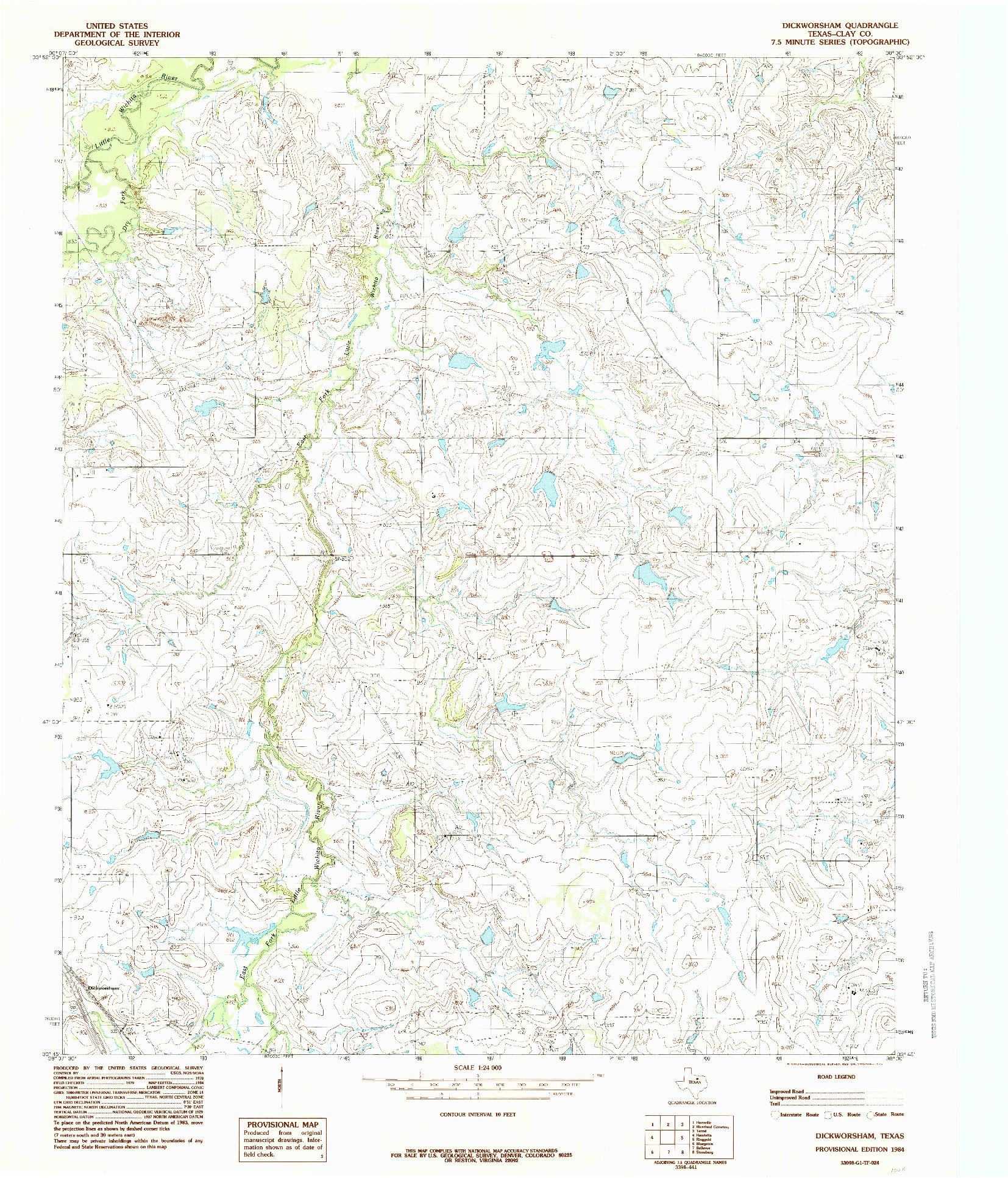 USGS 1:24000-SCALE QUADRANGLE FOR DICKWORSHAM, TX 1984