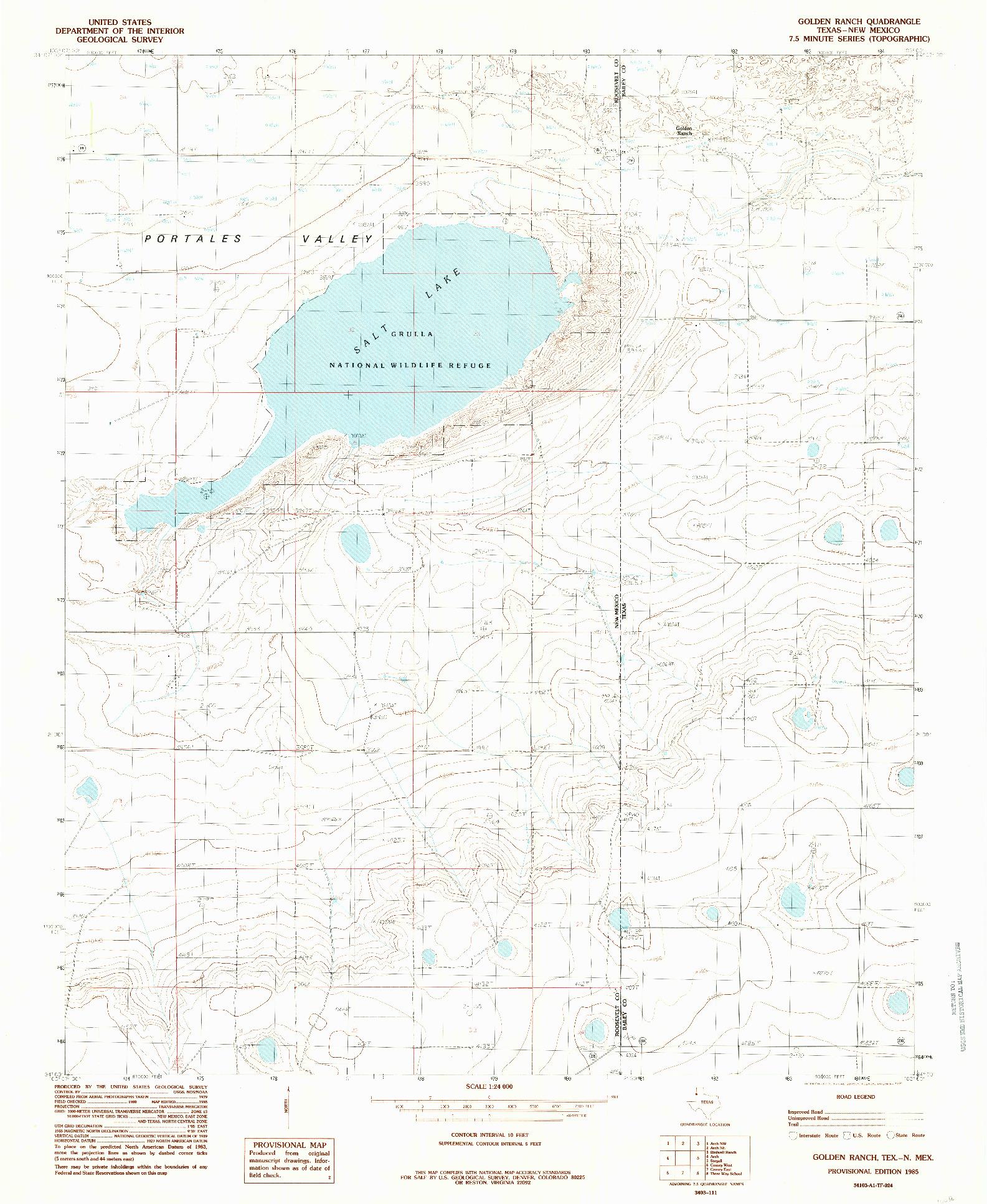 USGS 1:24000-SCALE QUADRANGLE FOR GOLDEN RANCH, TX 1985
