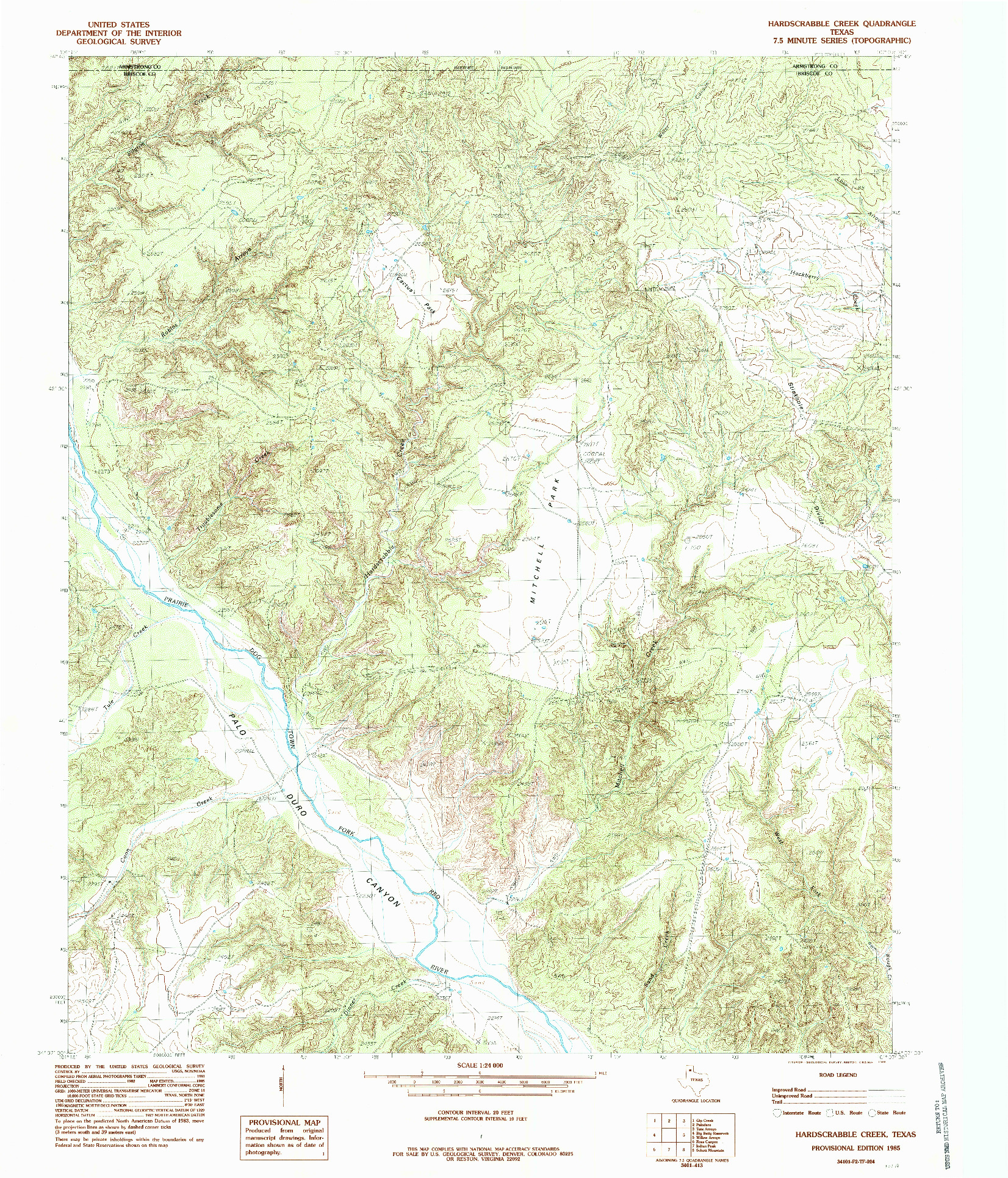 USGS 1:24000-SCALE QUADRANGLE FOR HARDSCRABBLE CREEK, TX 1985