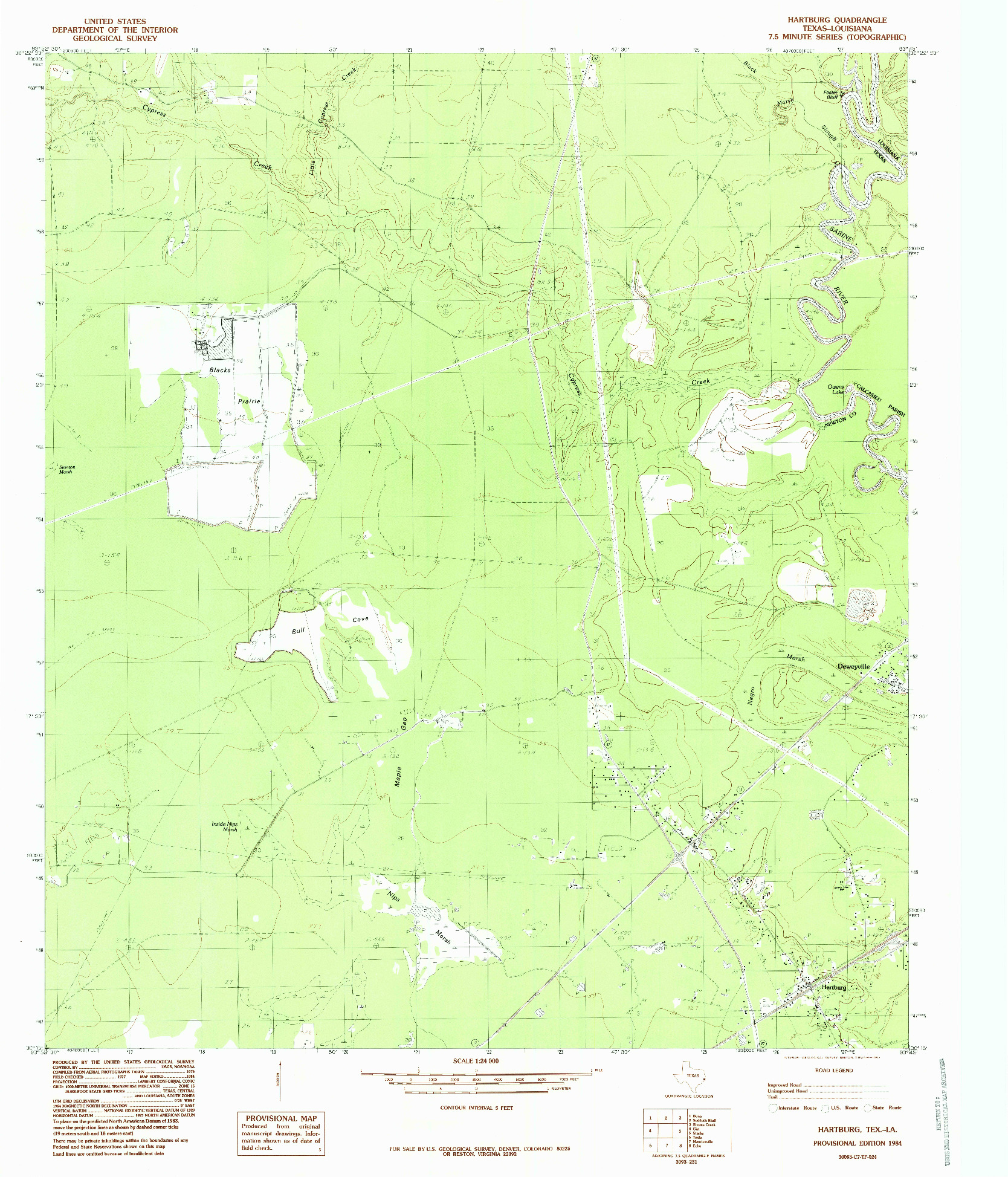 USGS 1:24000-SCALE QUADRANGLE FOR HARTBURG, TX 1984