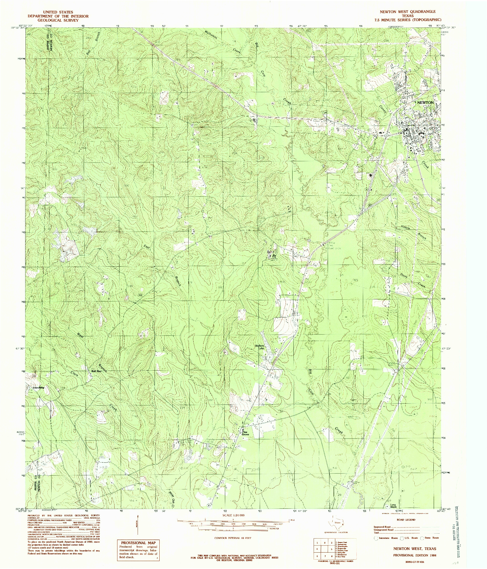 USGS 1:24000-SCALE QUADRANGLE FOR NEWTON WEST, TX 1984