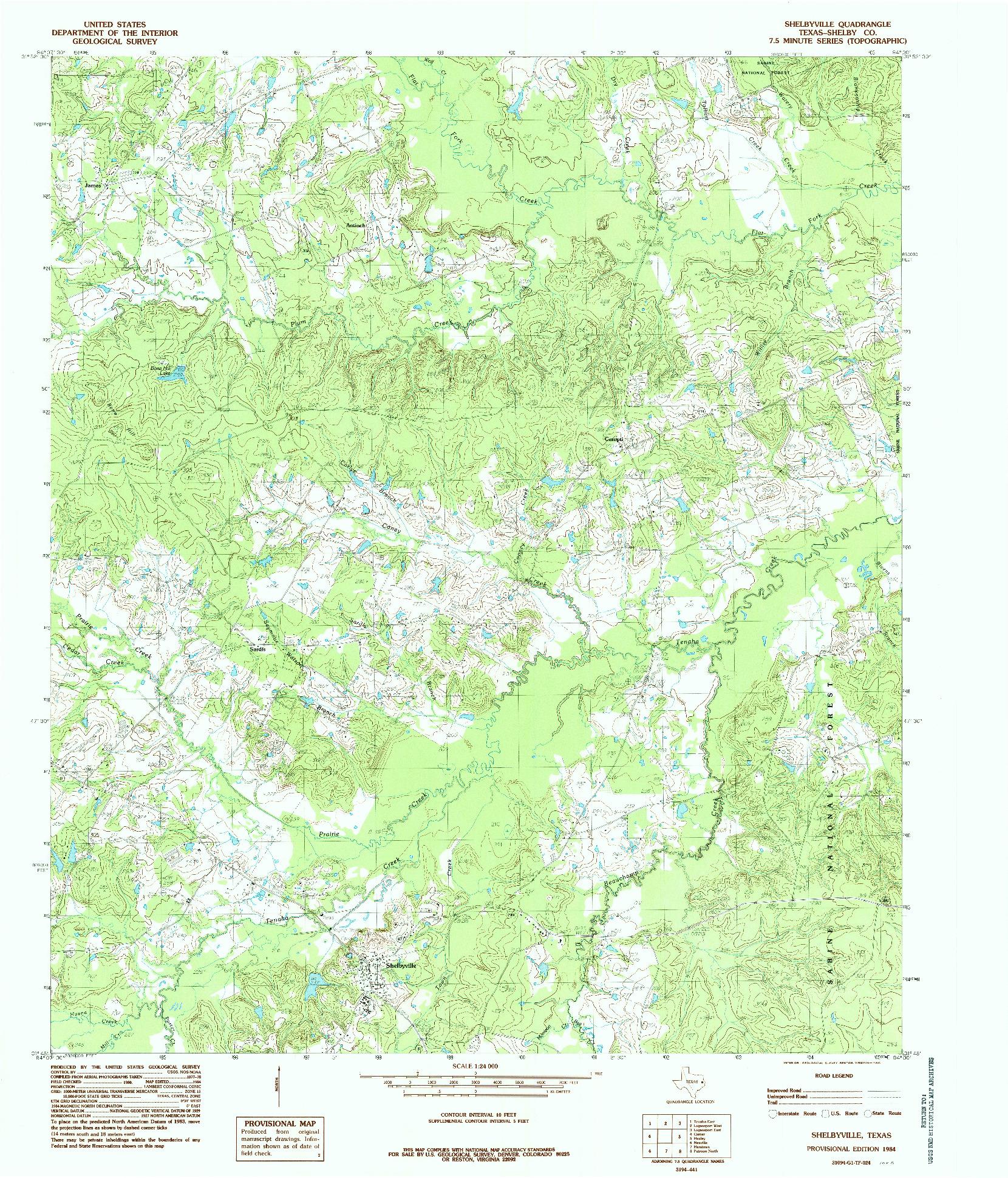 USGS 1:24000-SCALE QUADRANGLE FOR SHELBYVILLE, TX 1984