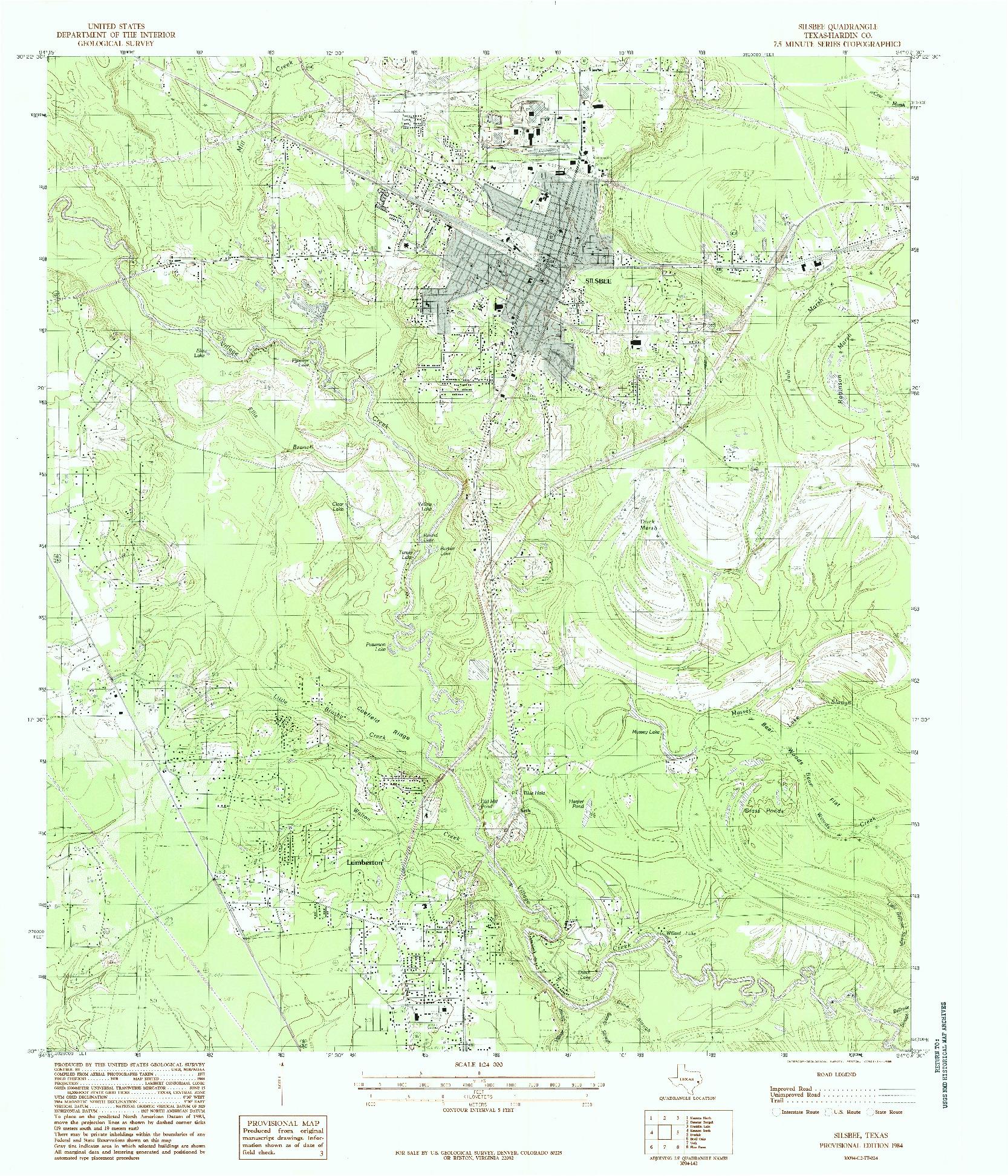 USGS 1:24000-SCALE QUADRANGLE FOR SILSBEE, TX 1984