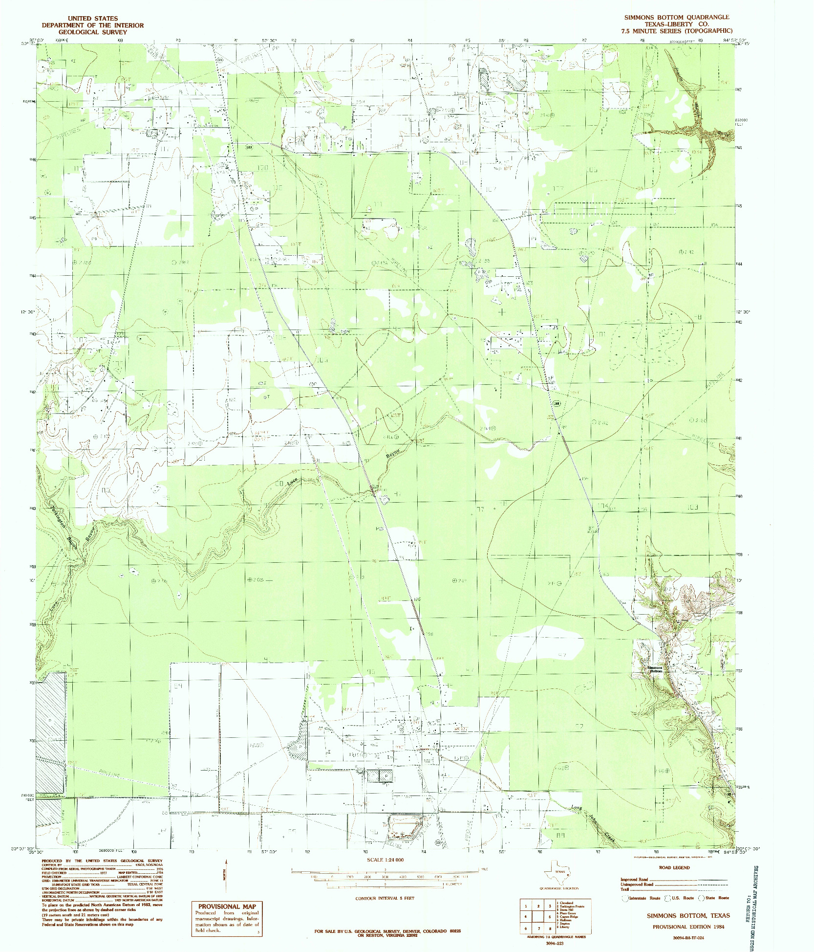 USGS 1:24000-SCALE QUADRANGLE FOR SIMMONS BOTTOM, TX 1984