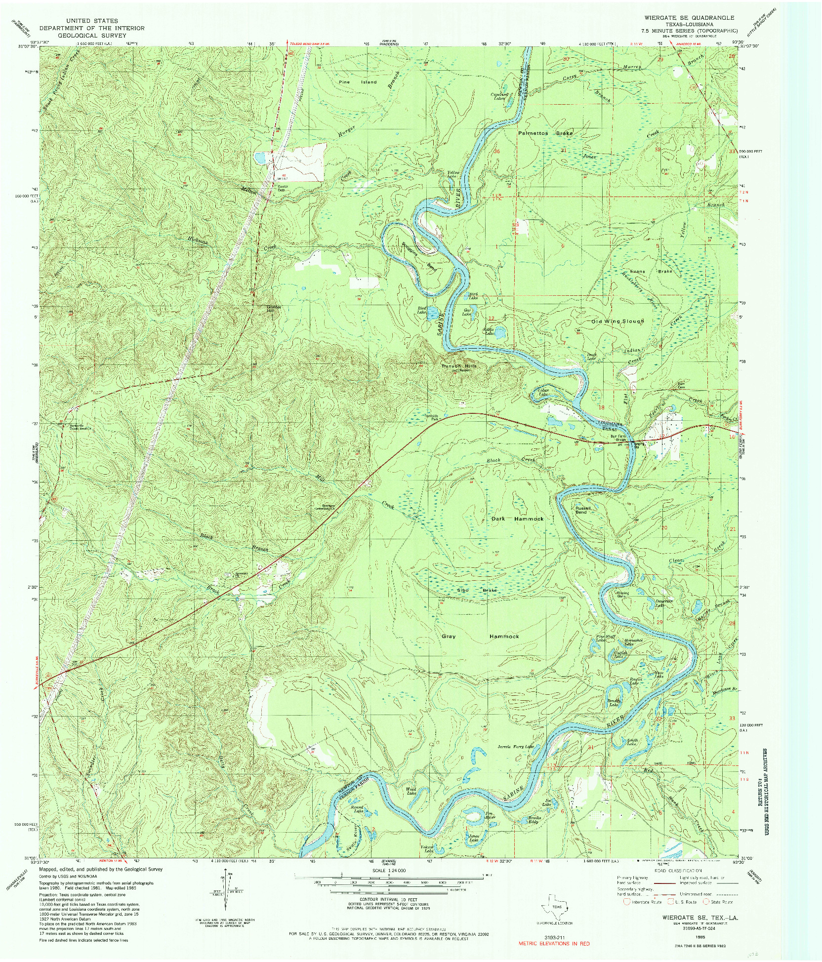 USGS 1:24000-SCALE QUADRANGLE FOR WIERGATE SE, TX 1985
