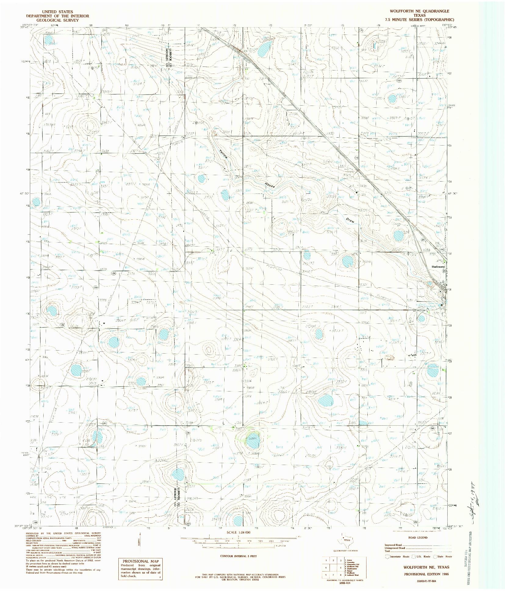 USGS 1:24000-SCALE QUADRANGLE FOR WOLFFORTH NE, TX 1985