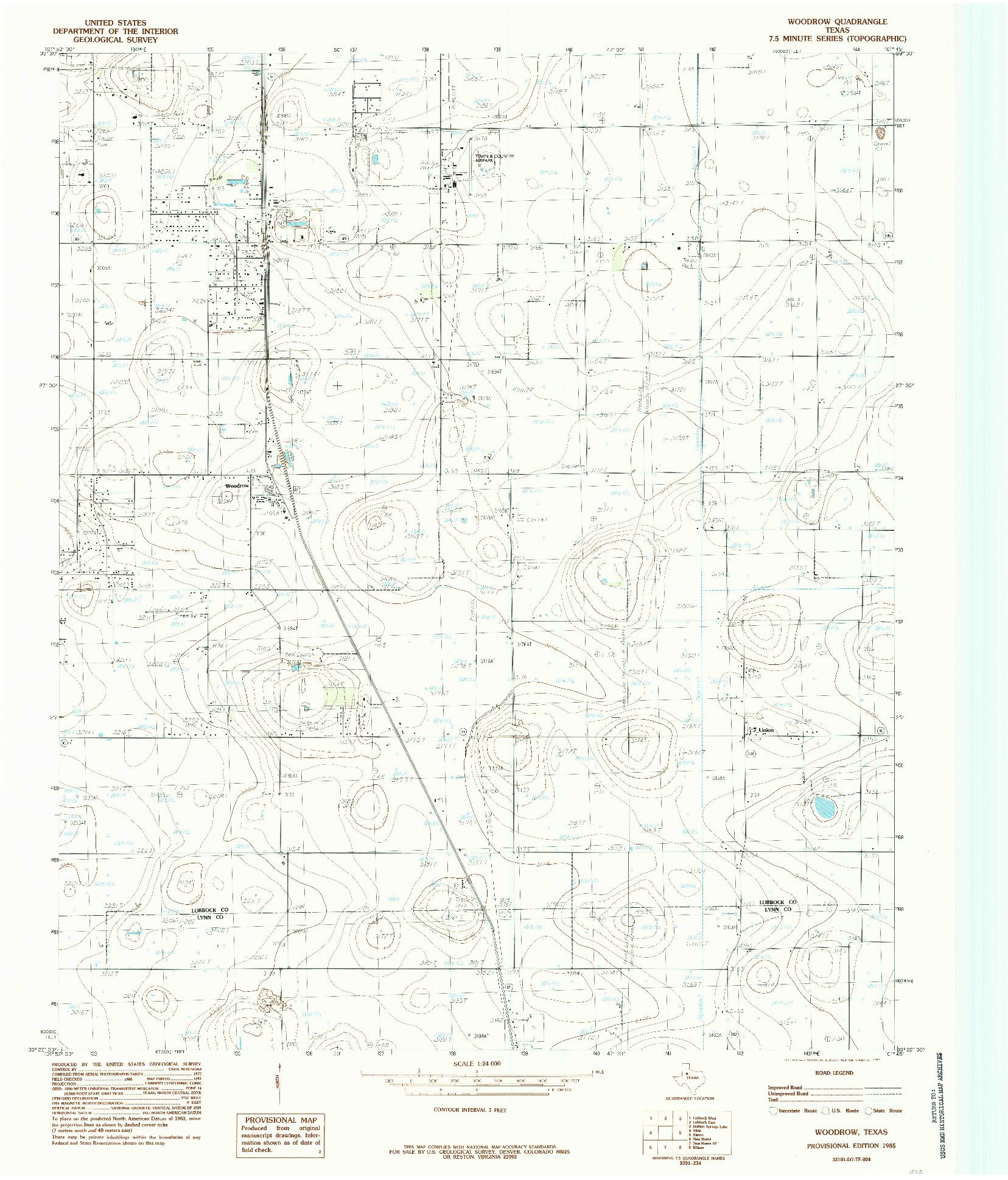 USGS 1:24000-SCALE QUADRANGLE FOR WOODROW, TX 1985
