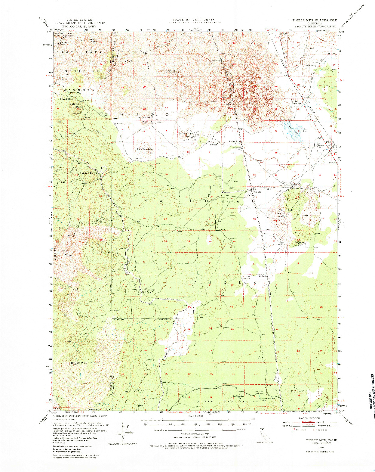 USGS 1:62500-SCALE QUADRANGLE FOR TIMBER MTN, CA 1952