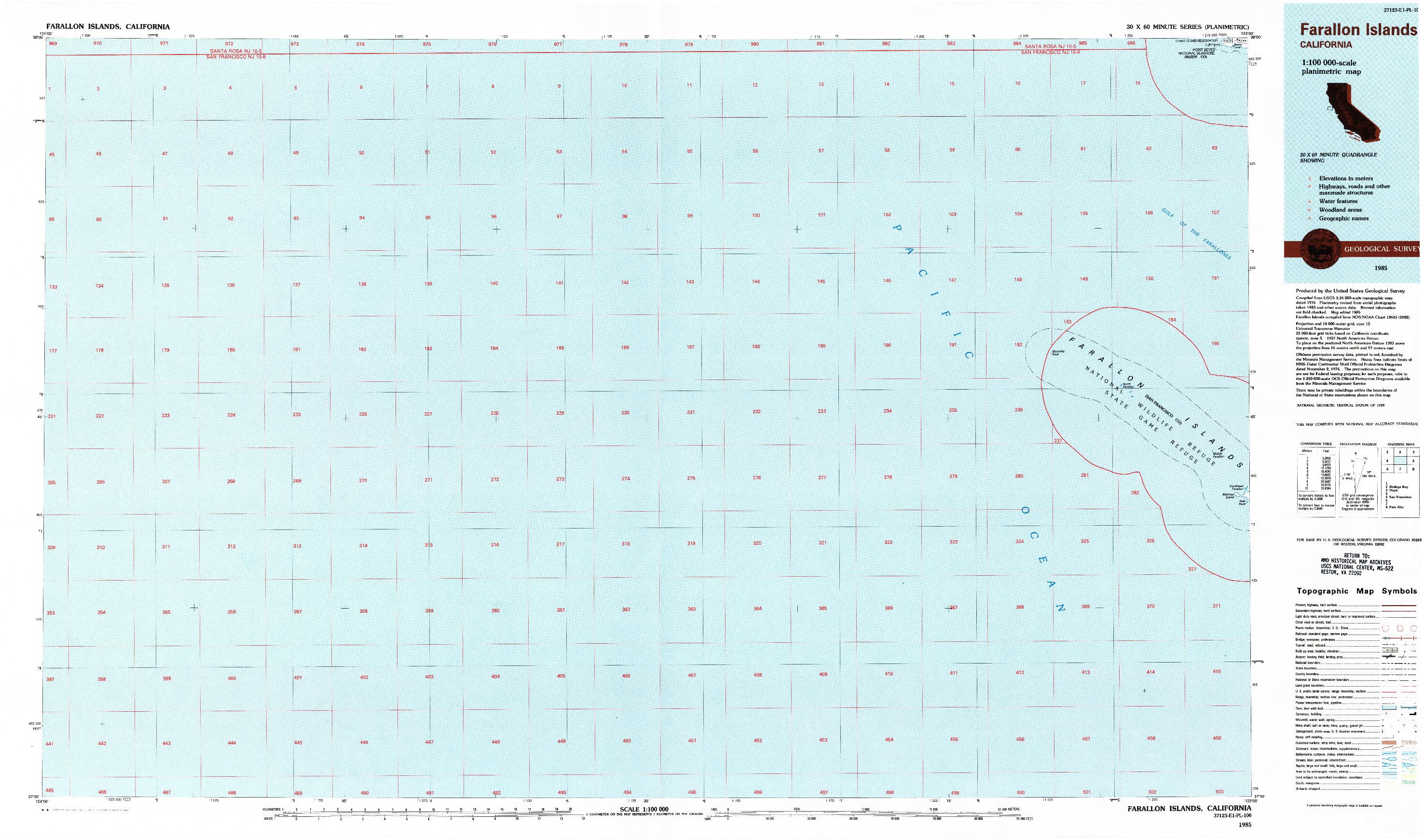USGS 1:100000-SCALE QUADRANGLE FOR FARALLON ISLANDS, CA 1985