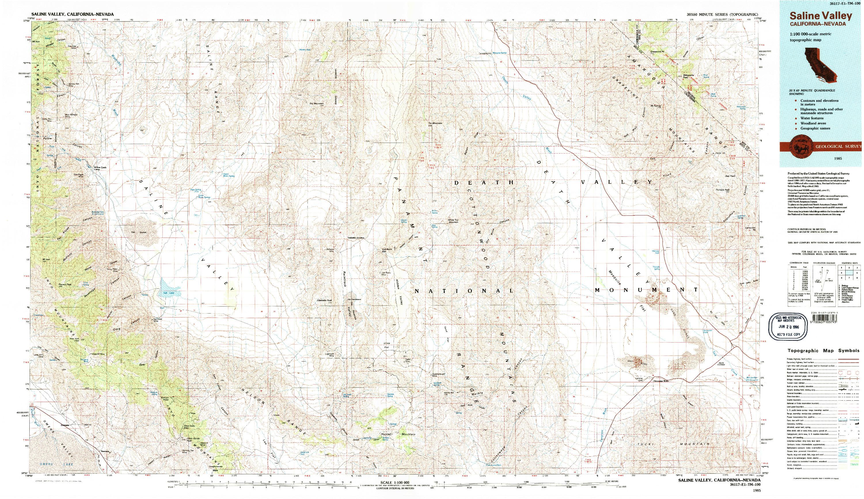 USGS 1:100000-SCALE QUADRANGLE FOR SALINE VALLEY, CA 1985