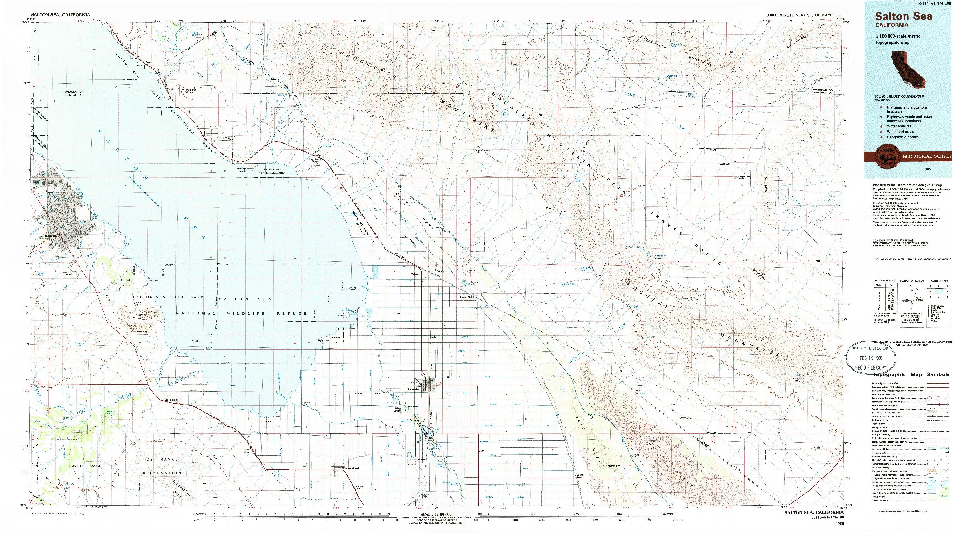 USGS 1:100000-SCALE QUADRANGLE FOR SALTON SEA, CA 1985
